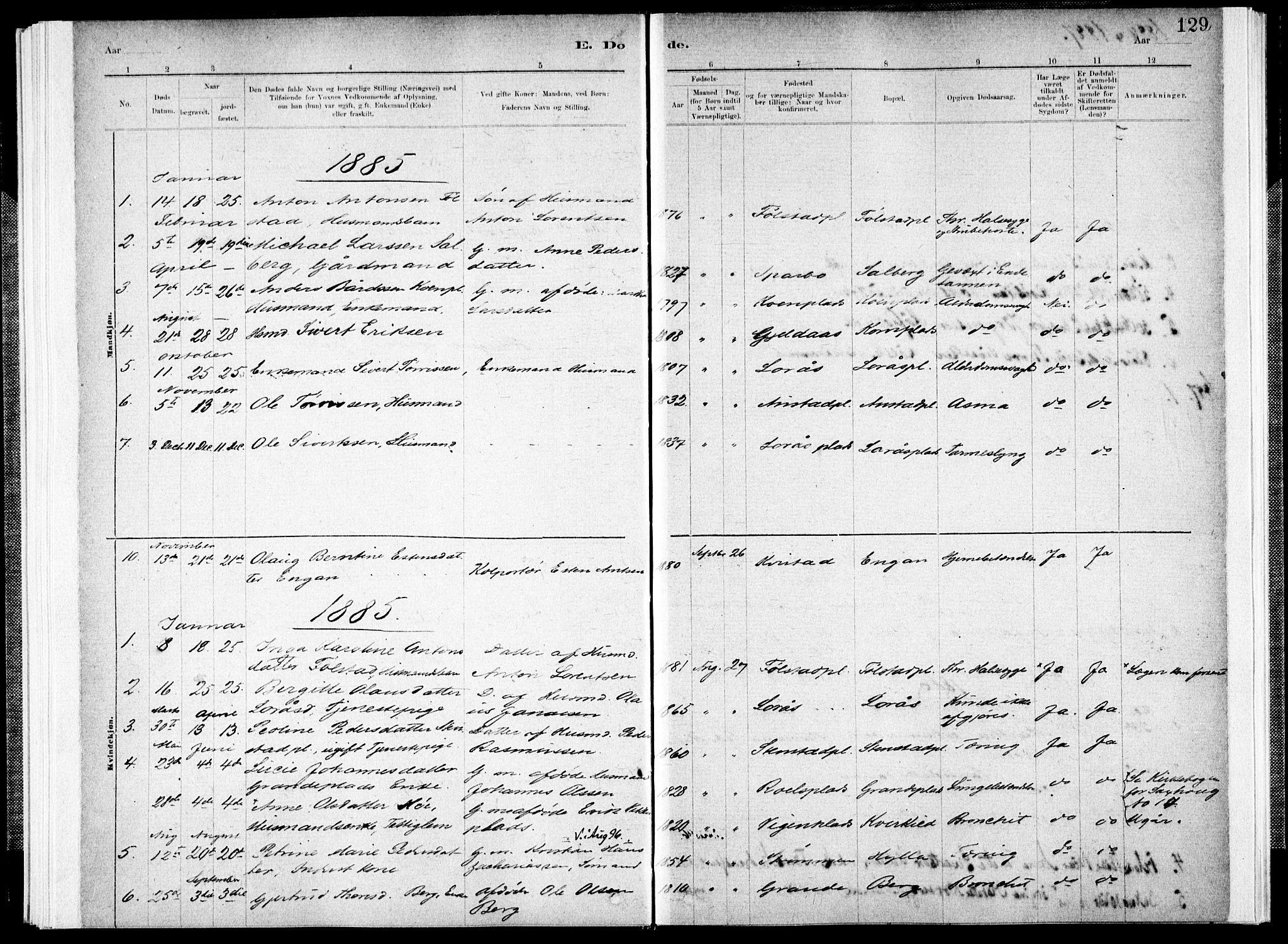 SAT, Ministerialprotokoller, klokkerbøker og fødselsregistre - Nord-Trøndelag, 731/L0309: Ministerialbok nr. 731A01, 1879-1918, s. 129