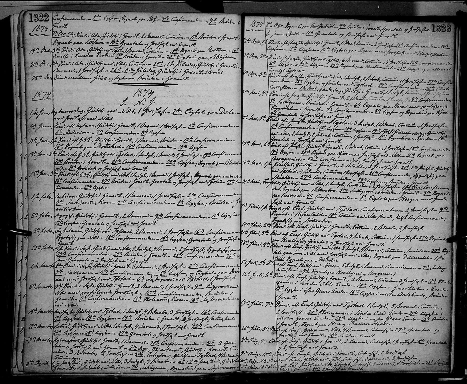 SAH, Gran prestekontor, Ministerialbok nr. 12, 1856-1874, s. 1322-1323