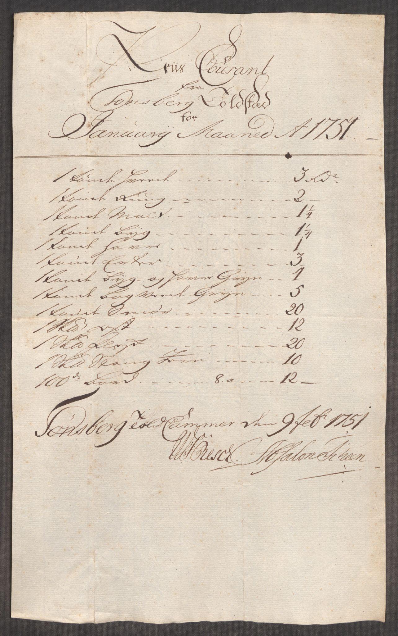 RA, Rentekammeret inntil 1814, Realistisk ordnet avdeling, Oe/L0004: [Ø1]: Priskuranter, 1749-1752, s. 589