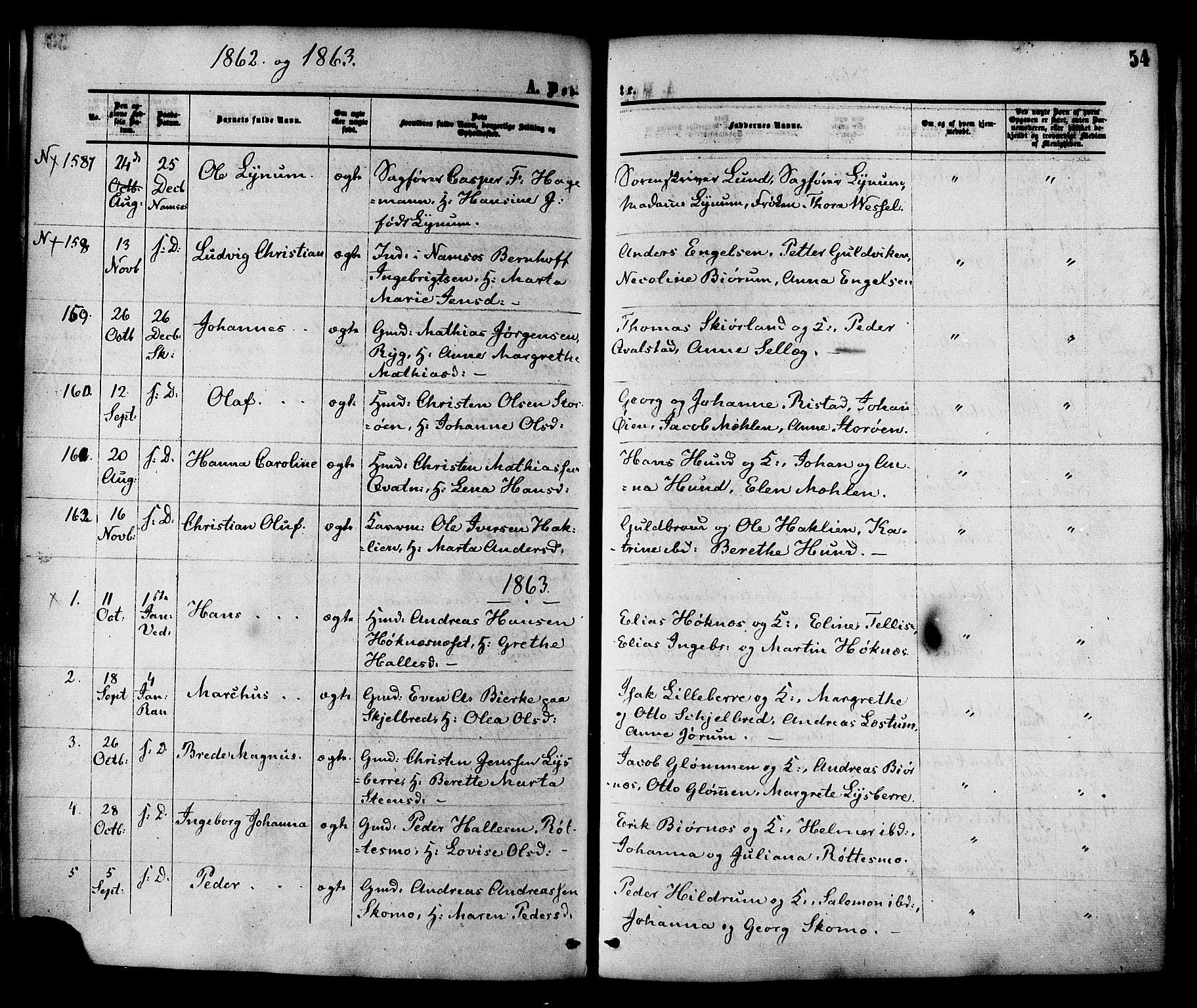 SAT, Ministerialprotokoller, klokkerbøker og fødselsregistre - Nord-Trøndelag, 764/L0553: Ministerialbok nr. 764A08, 1858-1880, s. 54