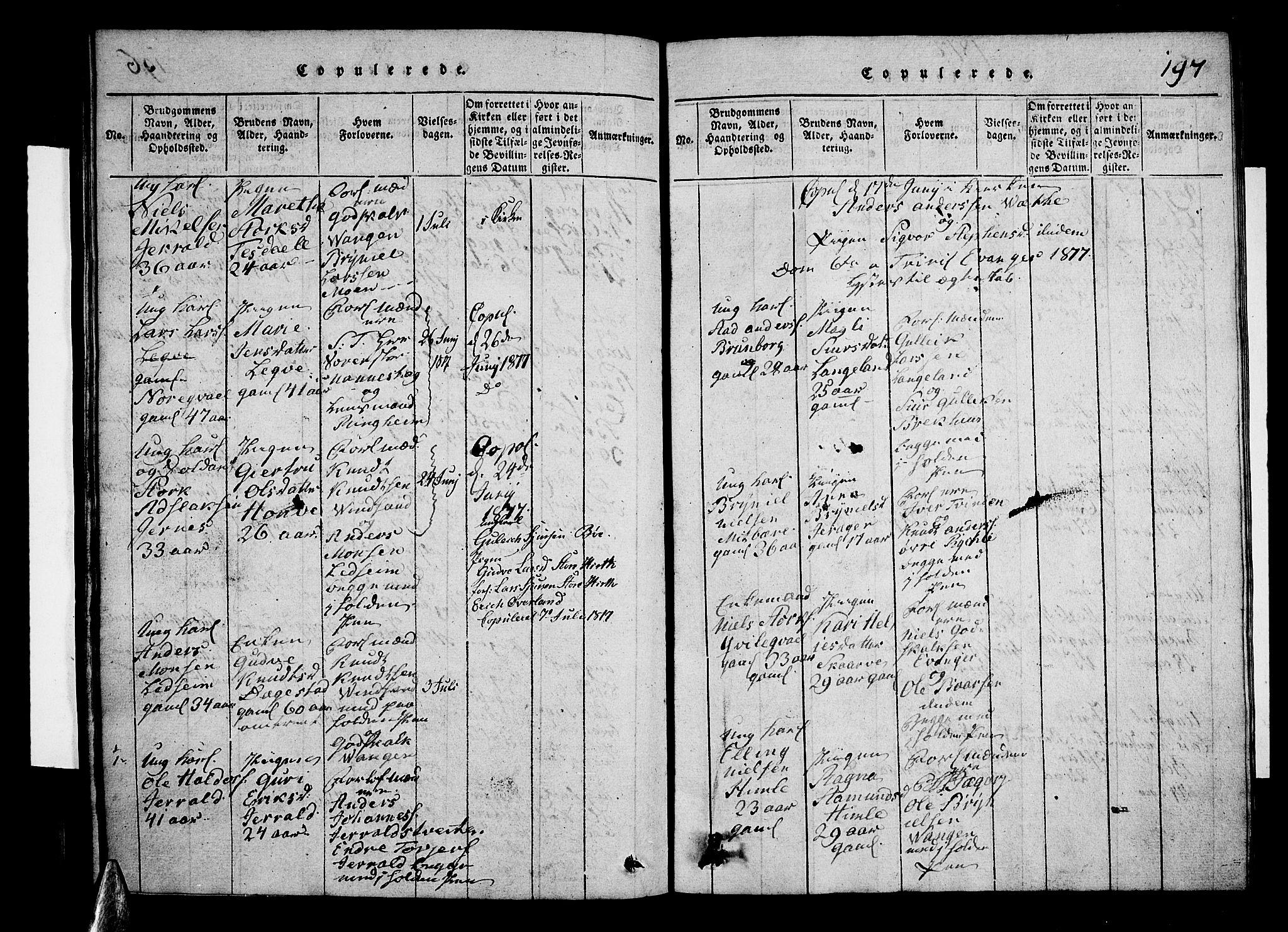 SAB, Voss Sokneprestembete, H/Hab: Klokkerbok nr. A 1, 1816-1818, s. 197