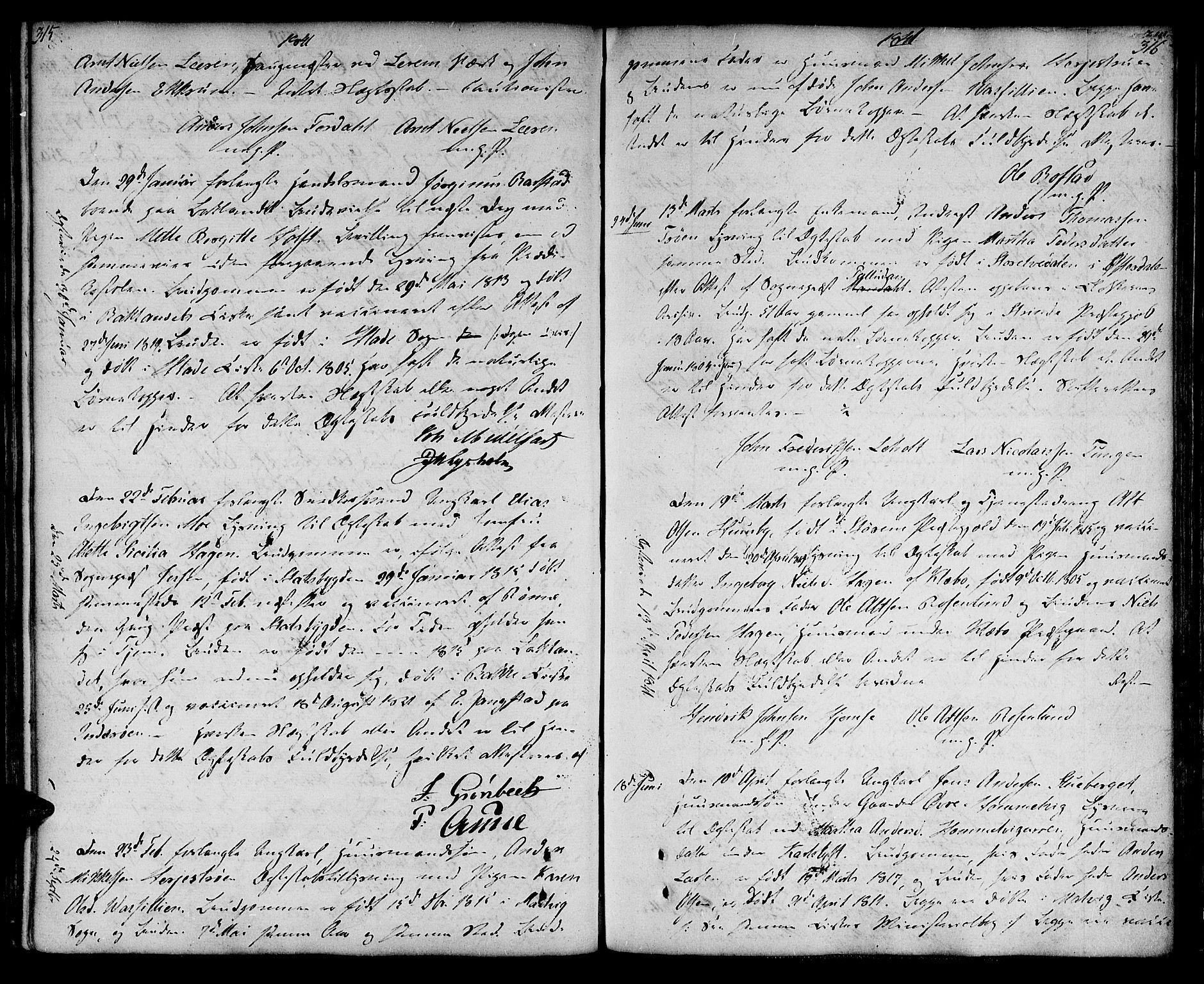 SAT, Ministerialprotokoller, klokkerbøker og fødselsregistre - Sør-Trøndelag, 604/L0181: Ministerialbok nr. 604A02, 1798-1817, s. 315-316