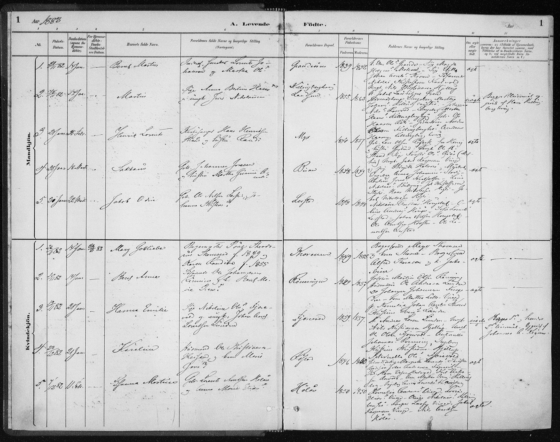 SAT, Ministerialprotokoller, klokkerbøker og fødselsregistre - Nord-Trøndelag, 701/L0010: Ministerialbok nr. 701A10, 1883-1899, s. 1
