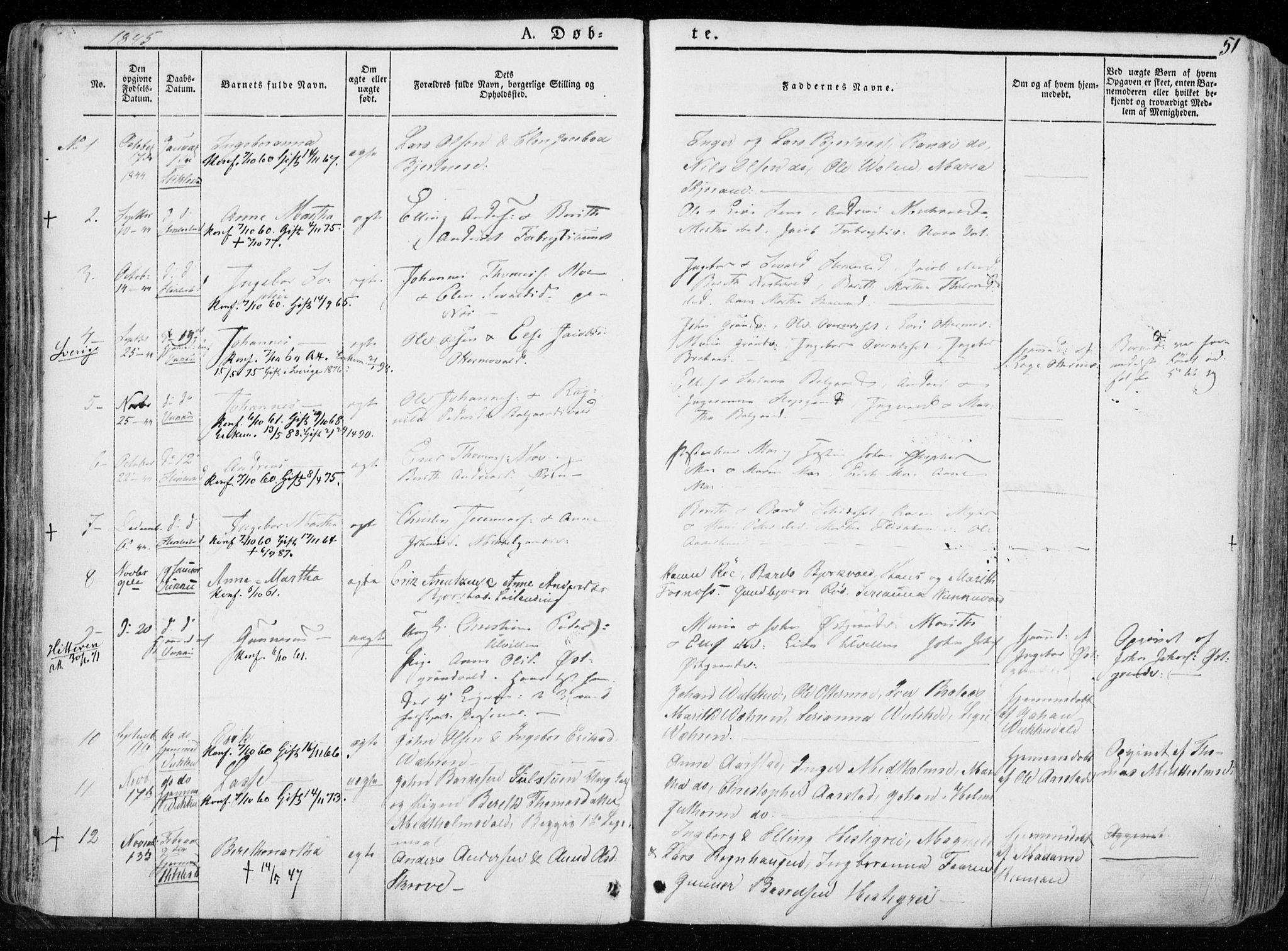 SAT, Ministerialprotokoller, klokkerbøker og fødselsregistre - Nord-Trøndelag, 723/L0239: Ministerialbok nr. 723A08, 1841-1851, s. 51