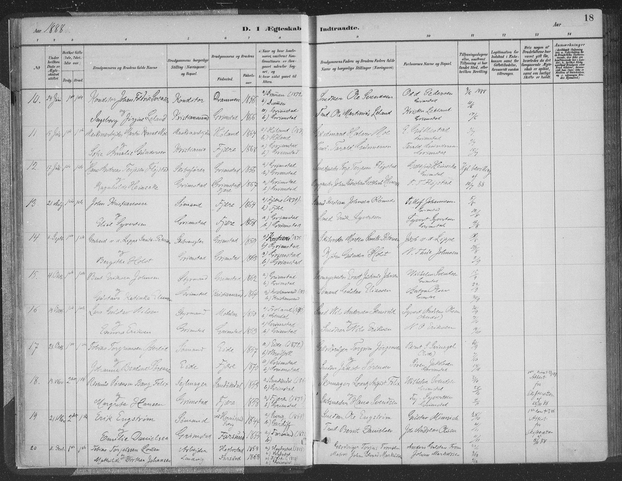 SAK, Grimstad sokneprestkontor, F/Fa/L0004: Ministerialbok nr. A 3, 1882-1910, s. 18