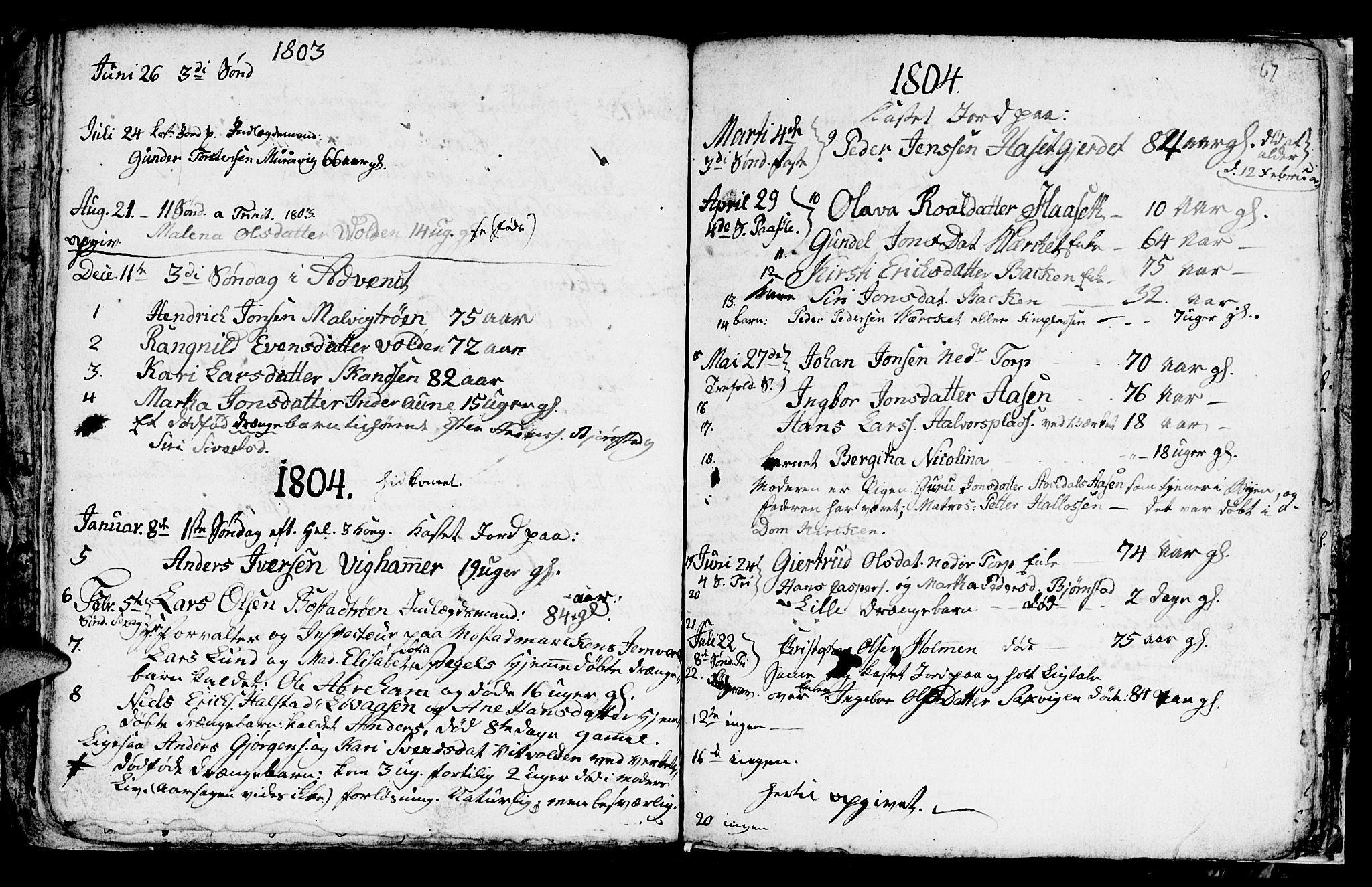 SAT, Ministerialprotokoller, klokkerbøker og fødselsregistre - Sør-Trøndelag, 616/L0419: Klokkerbok nr. 616C02, 1797-1816, s. 67