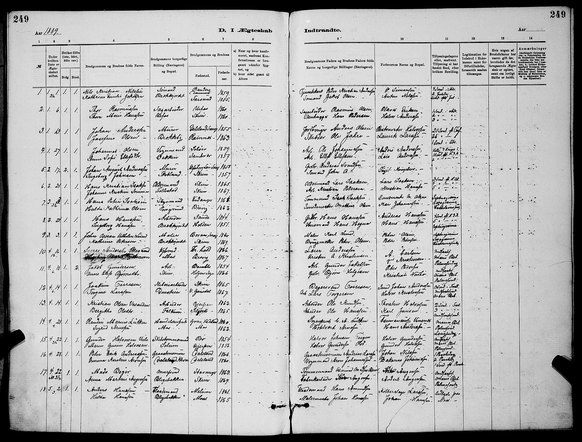 SAKO, Skien kirkebøker, G/Ga/L0006: Klokkerbok nr. 6, 1881-1890, s. 249
