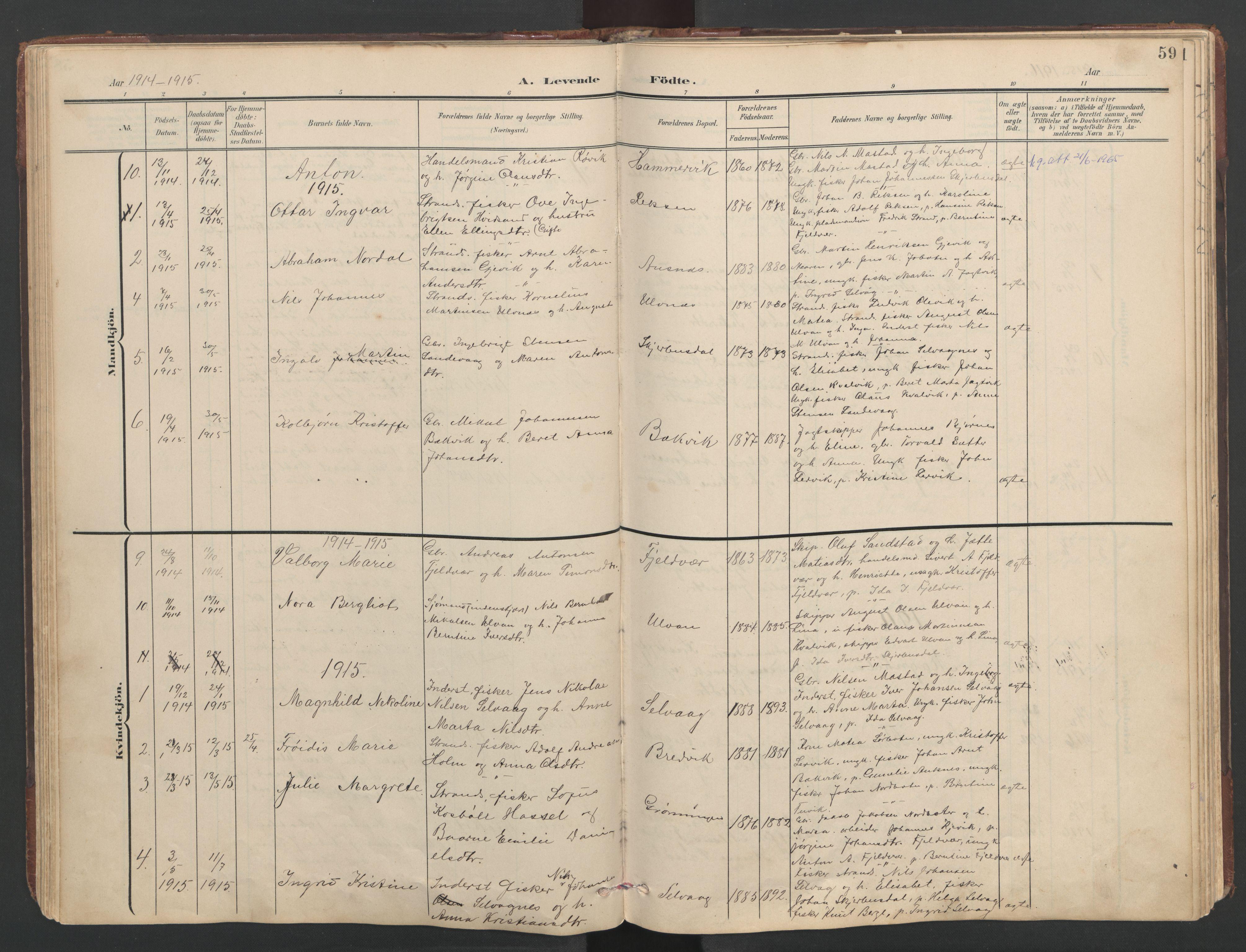 SAT, Ministerialprotokoller, klokkerbøker og fødselsregistre - Sør-Trøndelag, 638/L0571: Klokkerbok nr. 638C03, 1901-1930, s. 59