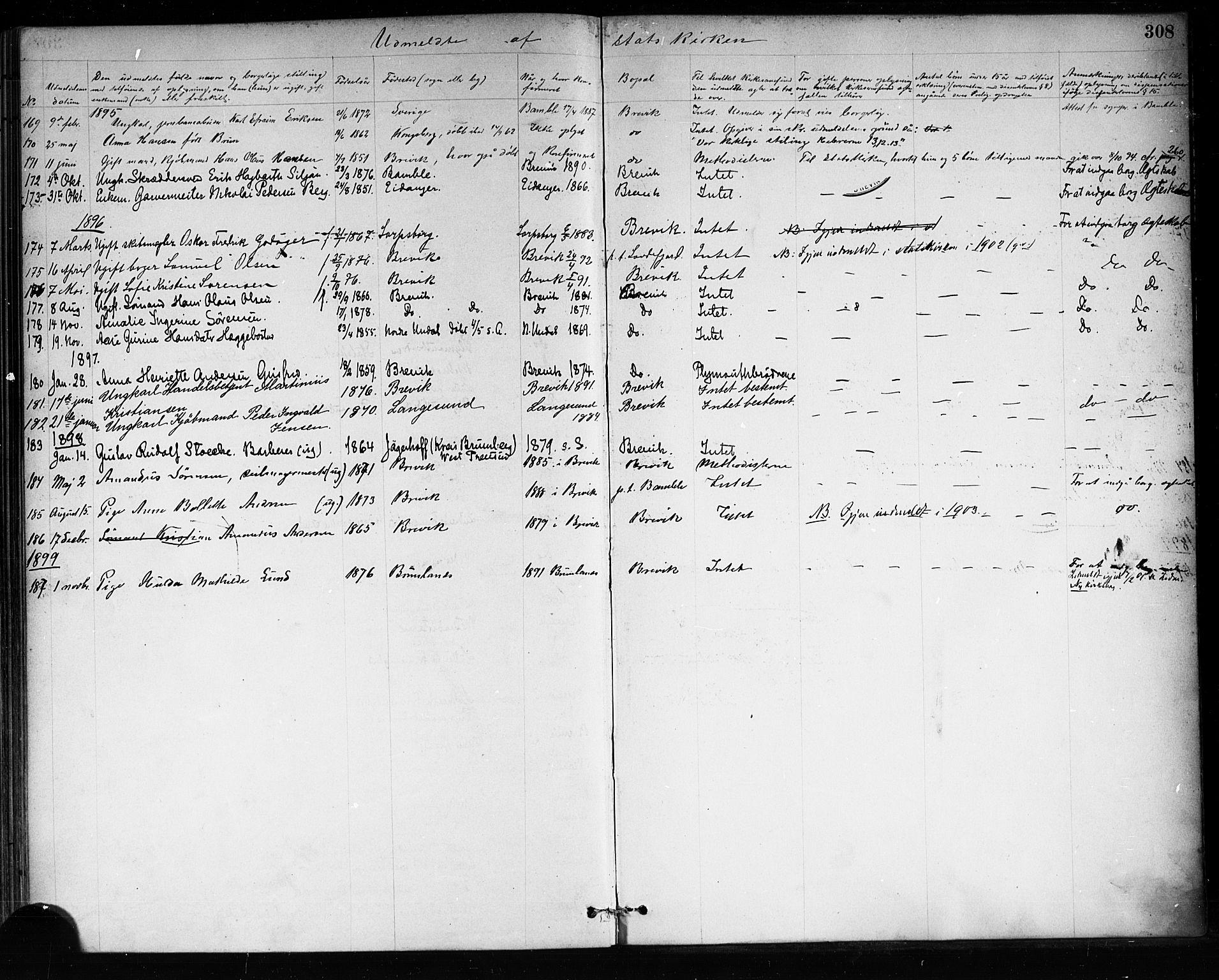 SAKO, Brevik kirkebøker, F/Fa/L0007: Ministerialbok nr. 7, 1882-1900, s. 308