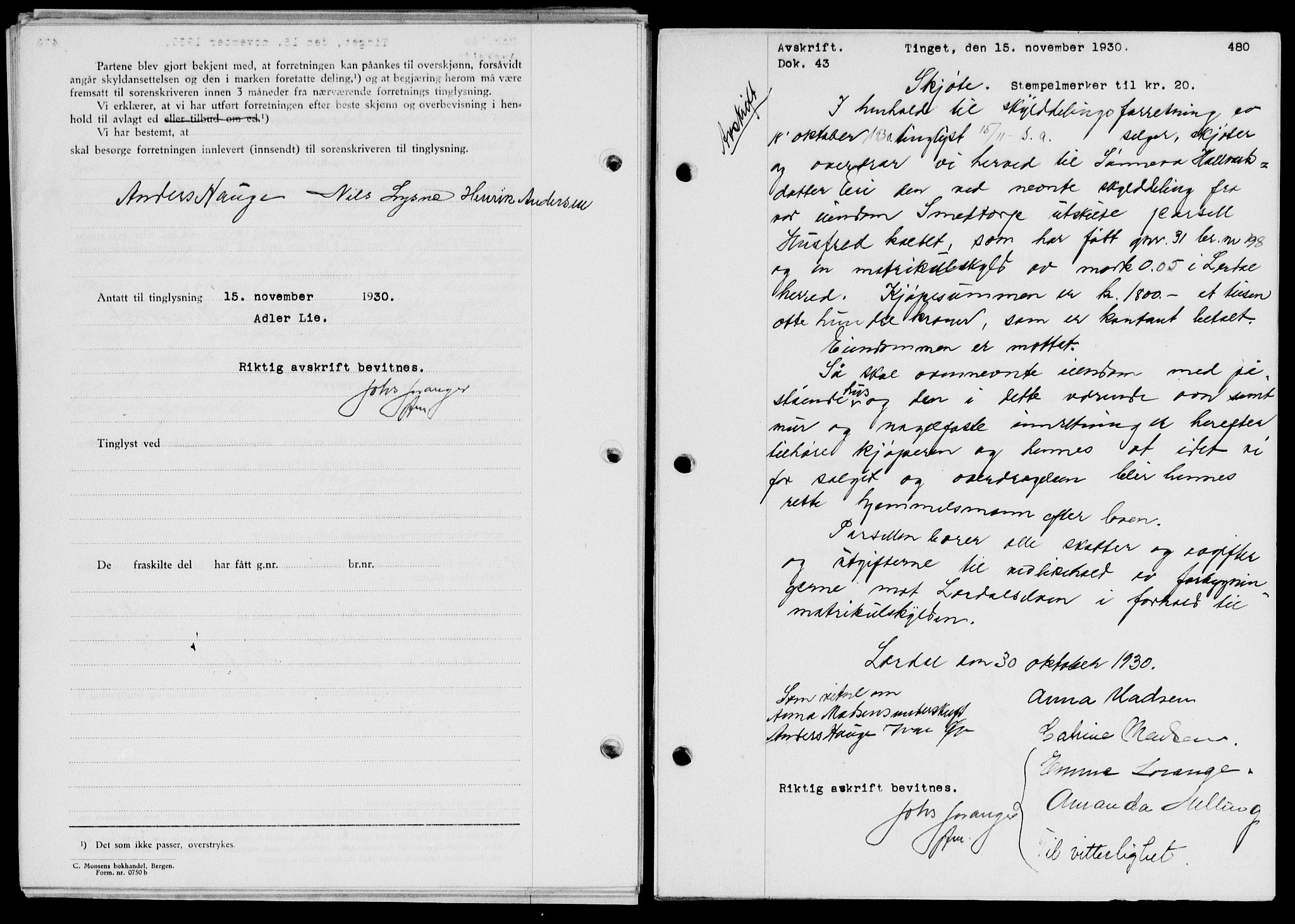 SAB, Indre Sogn sorenskriveri, G/Gb/Gba/L0025: Pantebok nr. II.B.25, 1930-1930, s. 480