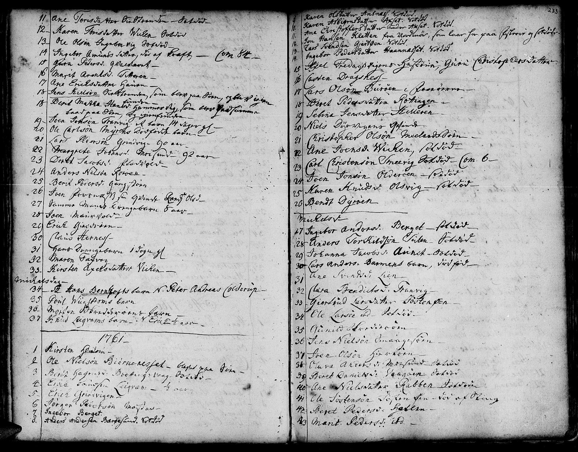 SAT, Ministerialprotokoller, klokkerbøker og fødselsregistre - Sør-Trøndelag, 634/L0525: Ministerialbok nr. 634A01, 1736-1775, s. 233