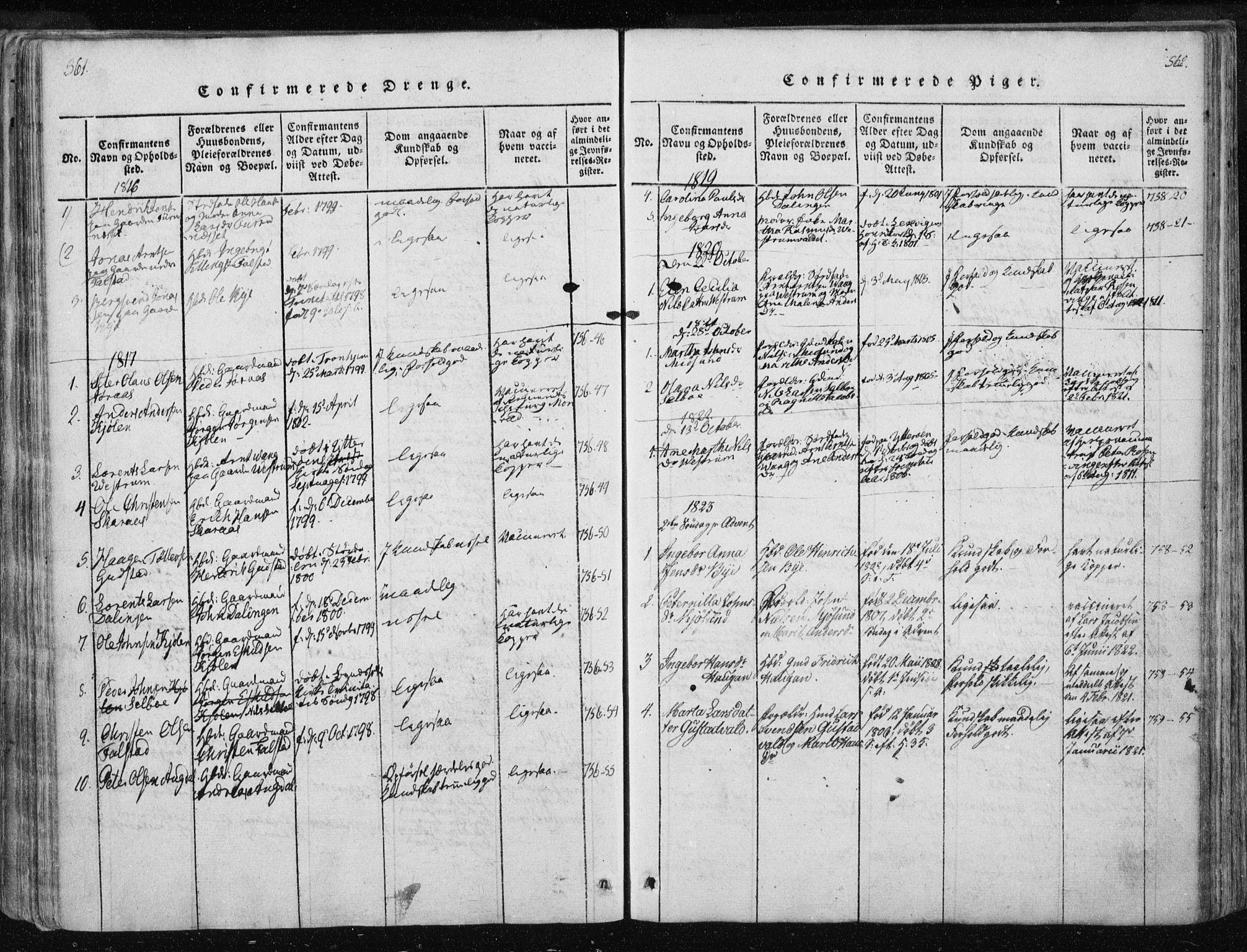 SAT, Ministerialprotokoller, klokkerbøker og fødselsregistre - Nord-Trøndelag, 717/L0148: Ministerialbok nr. 717A04 /3, 1816-1825, s. 561-562