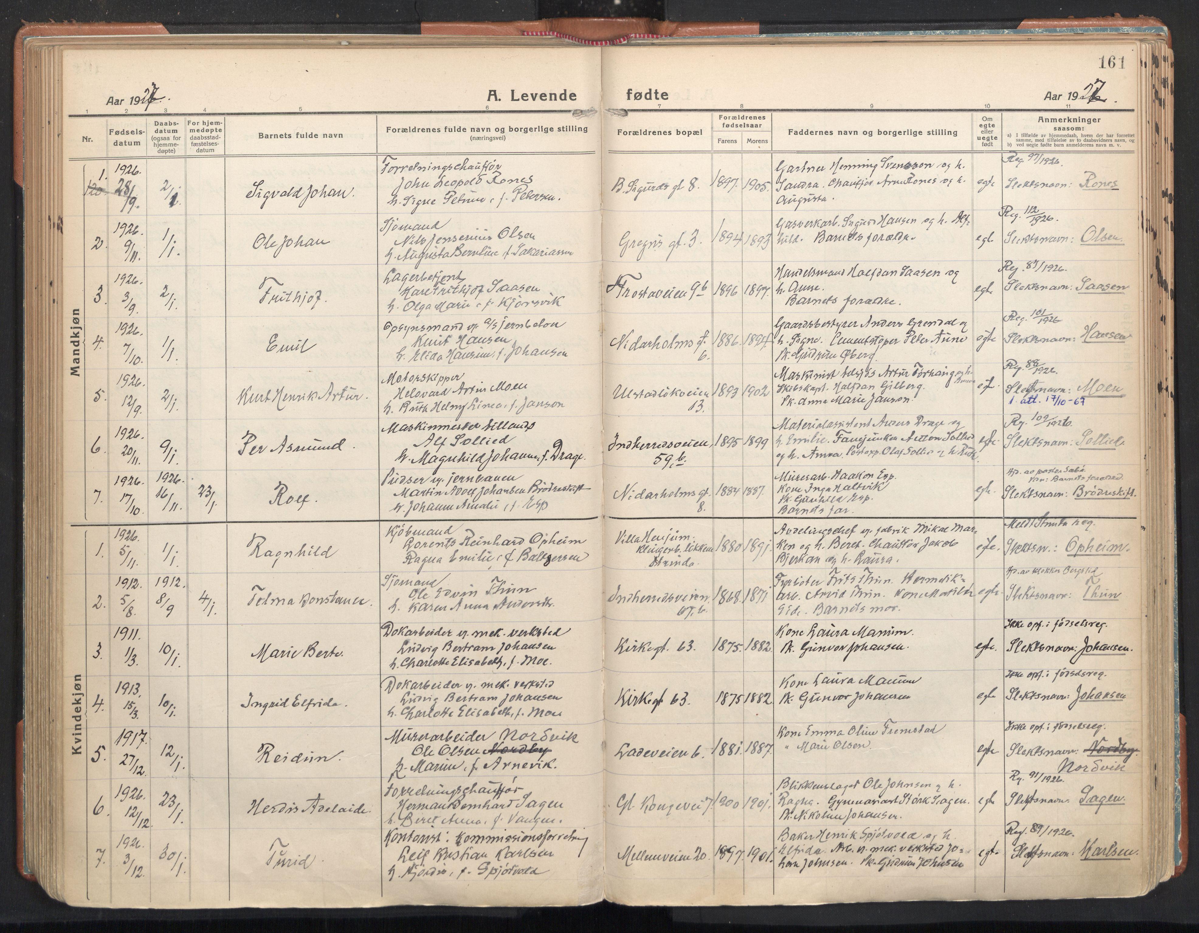 SAT, Ministerialprotokoller, klokkerbøker og fødselsregistre - Sør-Trøndelag, 605/L0248: Ministerialbok nr. 605A10, 1920-1937, s. 161