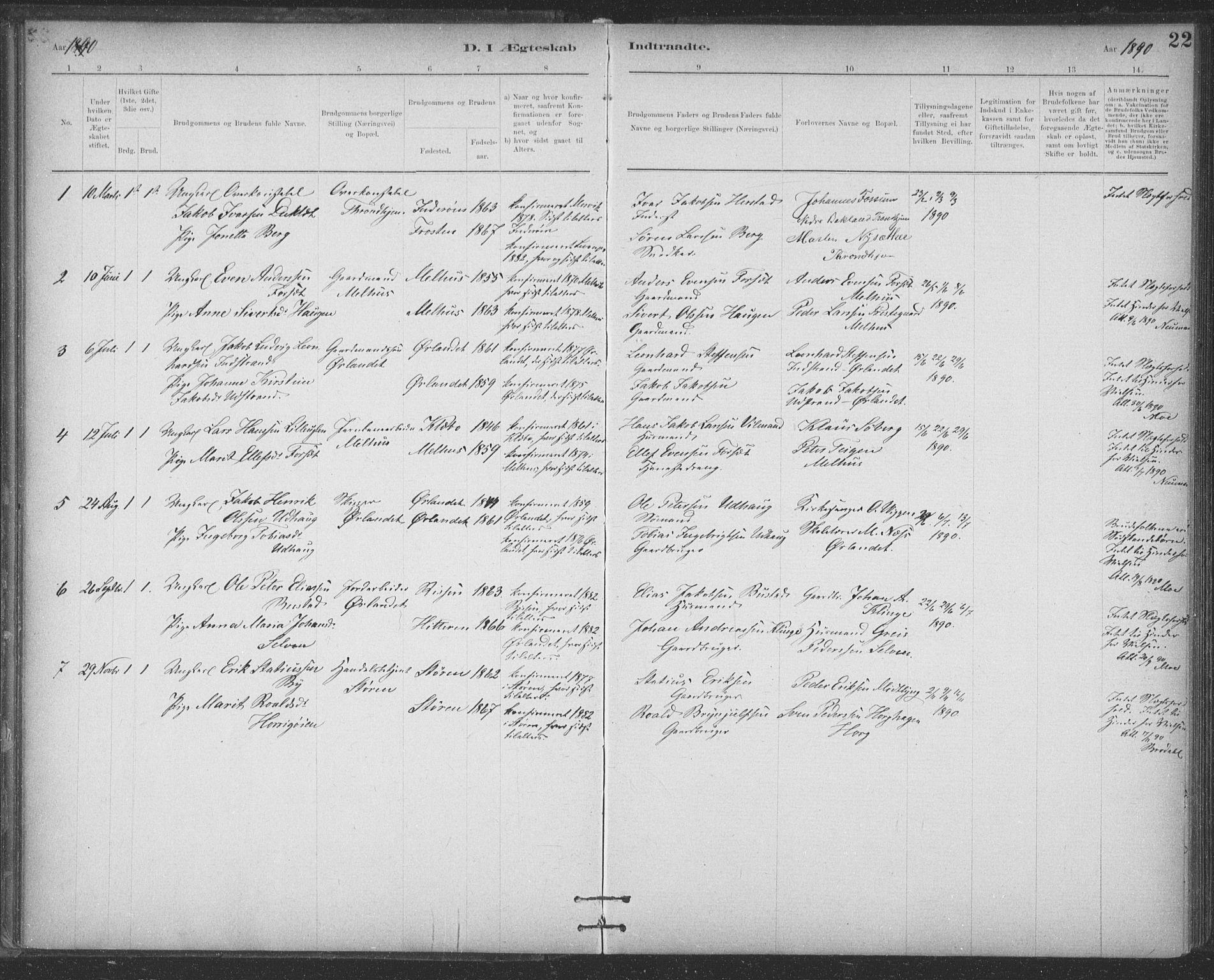 SAT, Ministerialprotokoller, klokkerbøker og fødselsregistre - Sør-Trøndelag, 623/L0470: Ministerialbok nr. 623A04, 1884-1938, s. 22