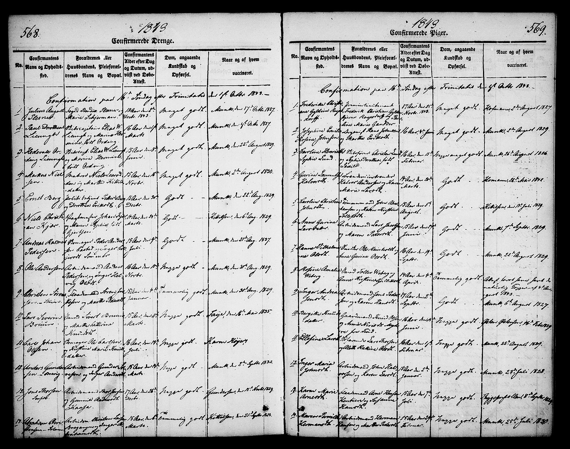 SAKO, Skien kirkebøker, F/Fa/L0006b: Ministerialbok nr. 6B, 1843-1846, s. 568-569