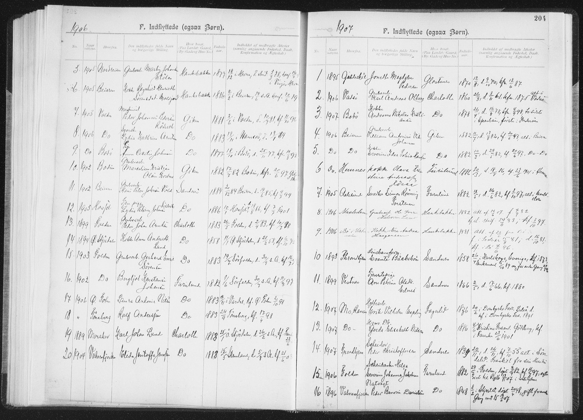 SAT, Ministerialprotokoller, klokkerbøker og fødselsregistre - Nordland, 850/L0711: Residerende kapellans bok nr. 850B01, 1902-1915, s. 204