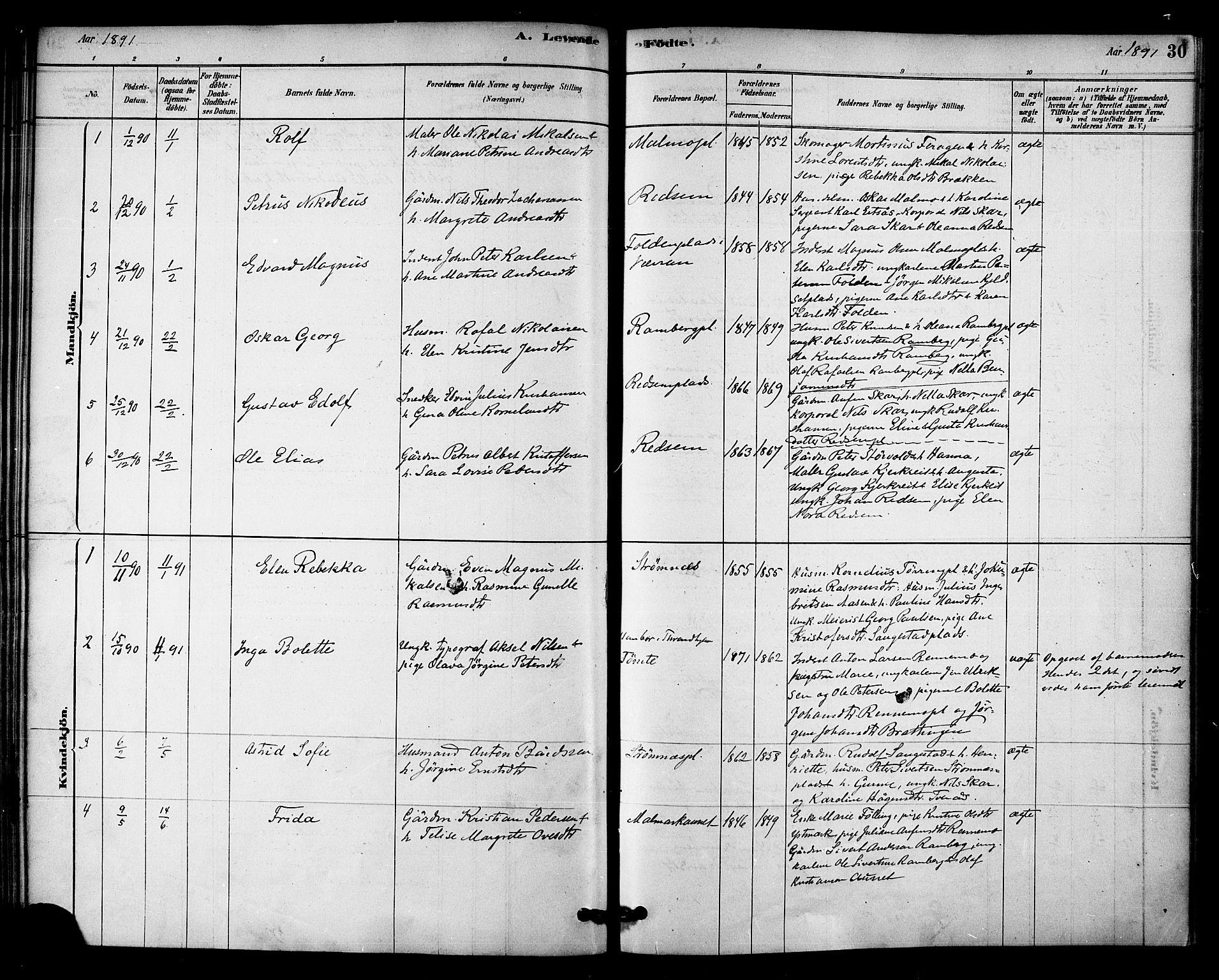 SAT, Ministerialprotokoller, klokkerbøker og fødselsregistre - Nord-Trøndelag, 745/L0429: Ministerialbok nr. 745A01, 1878-1894, s. 30