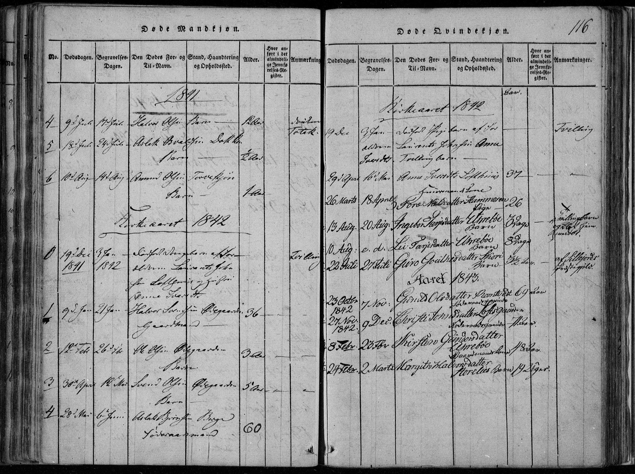 SAKO, Rauland kirkebøker, F/Fa/L0001: Ministerialbok nr. 1, 1814-1859, s. 116
