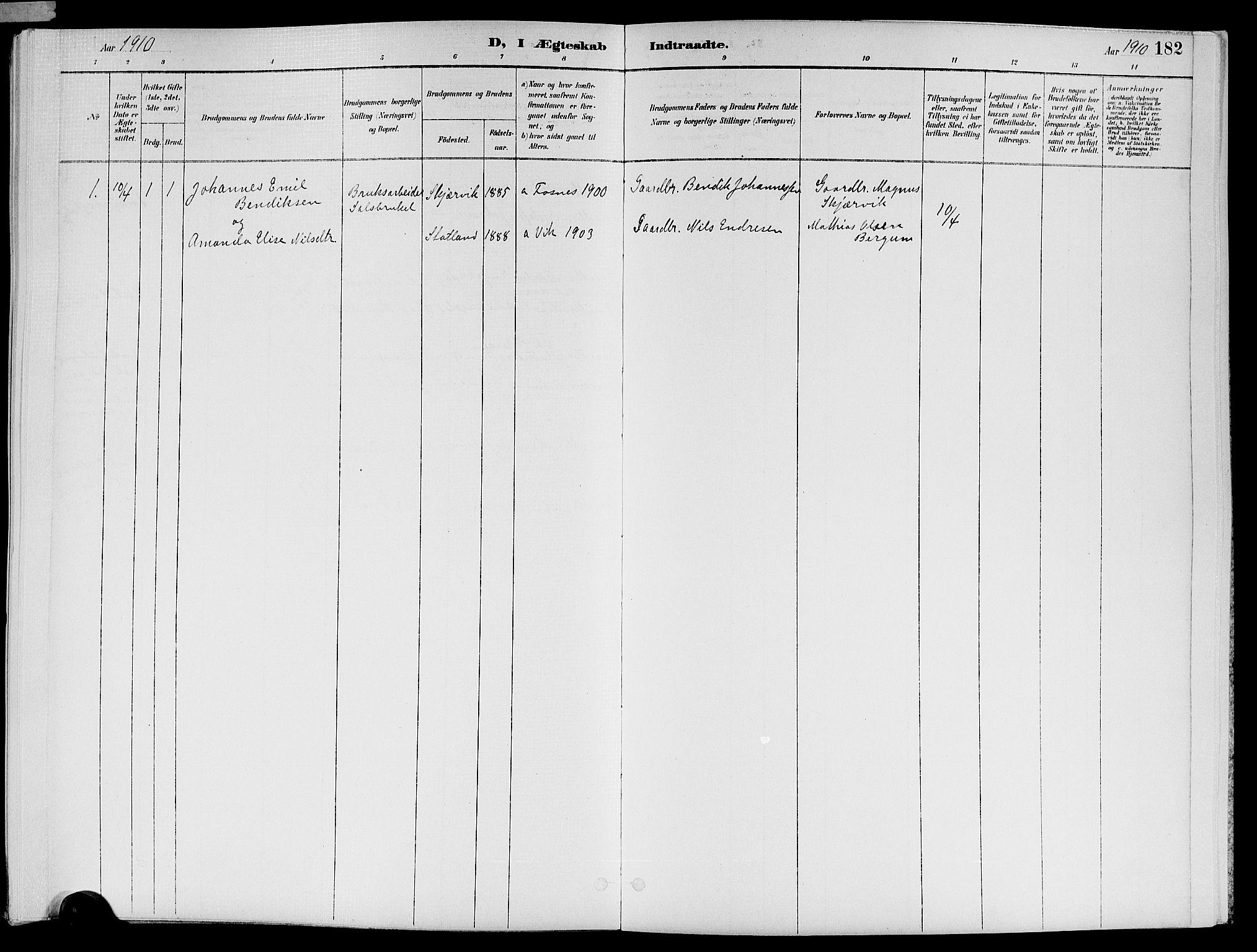 SAT, Ministerialprotokoller, klokkerbøker og fødselsregistre - Nord-Trøndelag, 773/L0617: Ministerialbok nr. 773A08, 1887-1910, s. 182