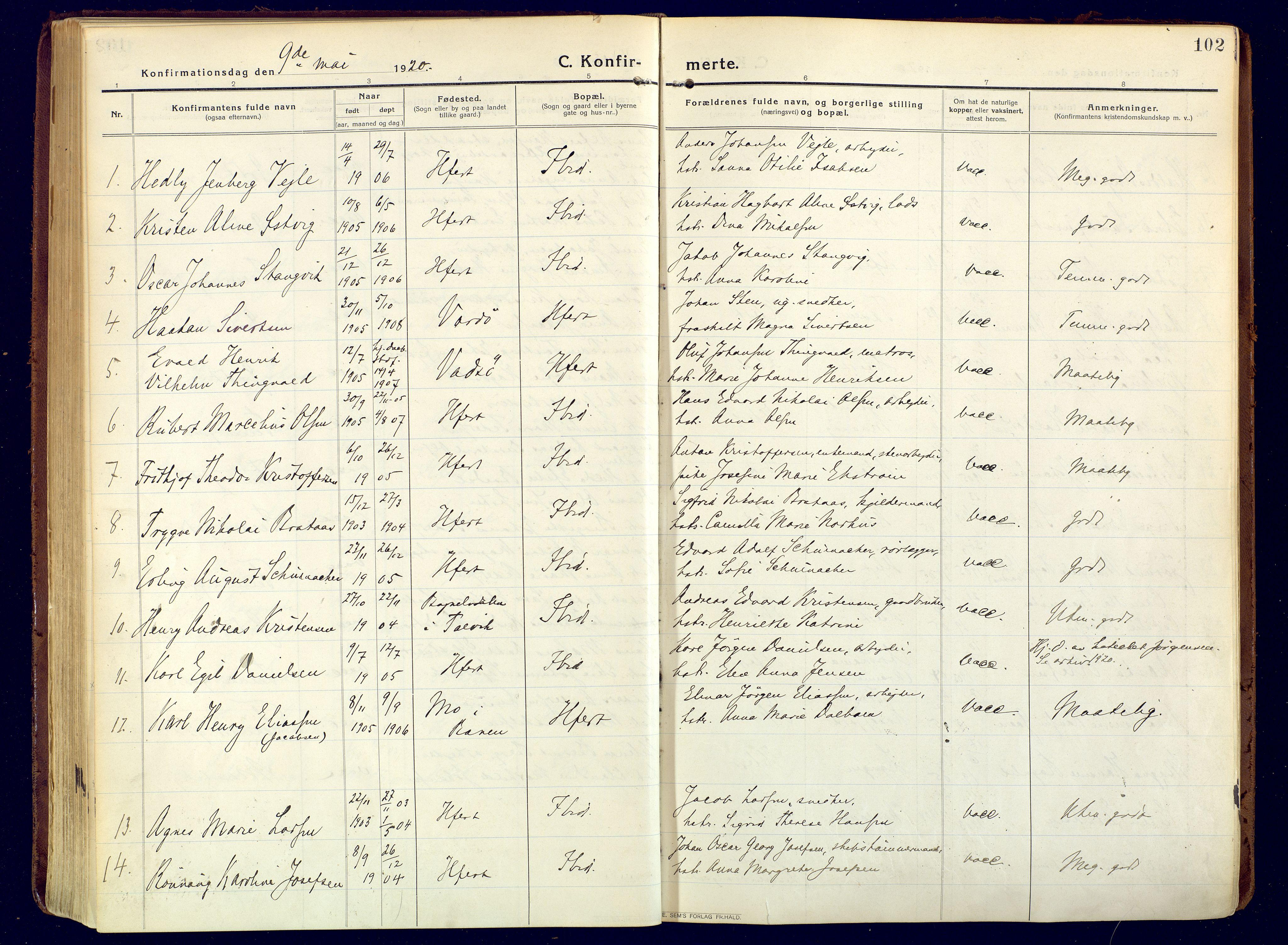 SATØ, Hammerfest sokneprestembete, Ministerialbok nr. 15, 1916-1923, s. 102