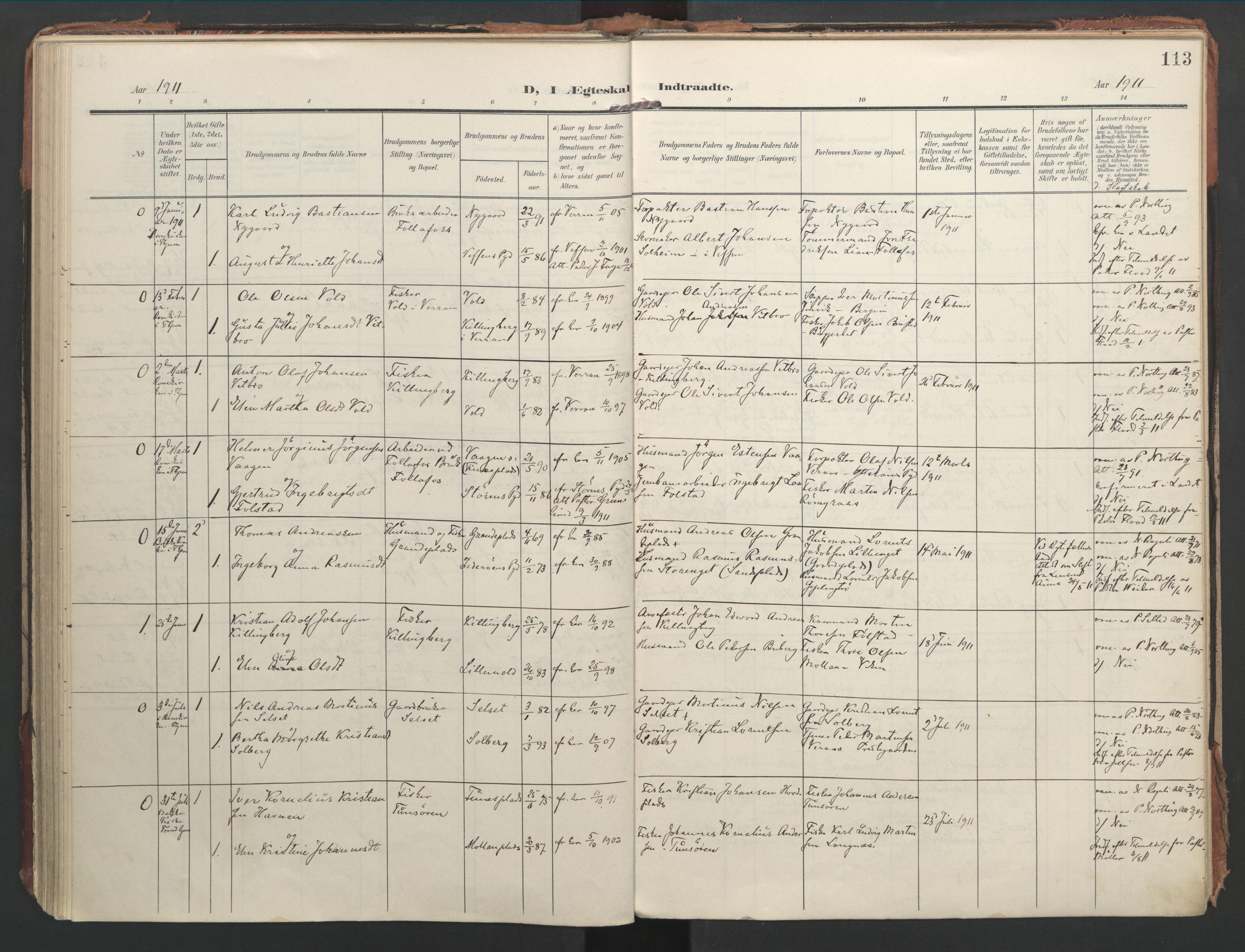 SAT, Ministerialprotokoller, klokkerbøker og fødselsregistre - Nord-Trøndelag, 744/L0421: Ministerialbok nr. 744A05, 1905-1930, s. 113