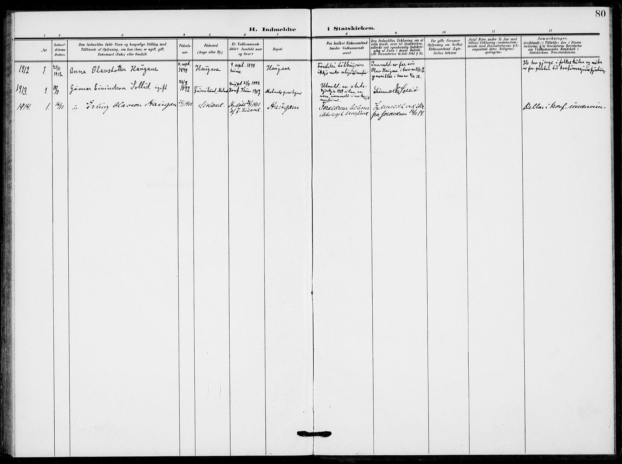 SAKO, Fyresdal kirkebøker, F/Fb/L0004: Ministerialbok nr. II 4, 1903-1920, s. 80