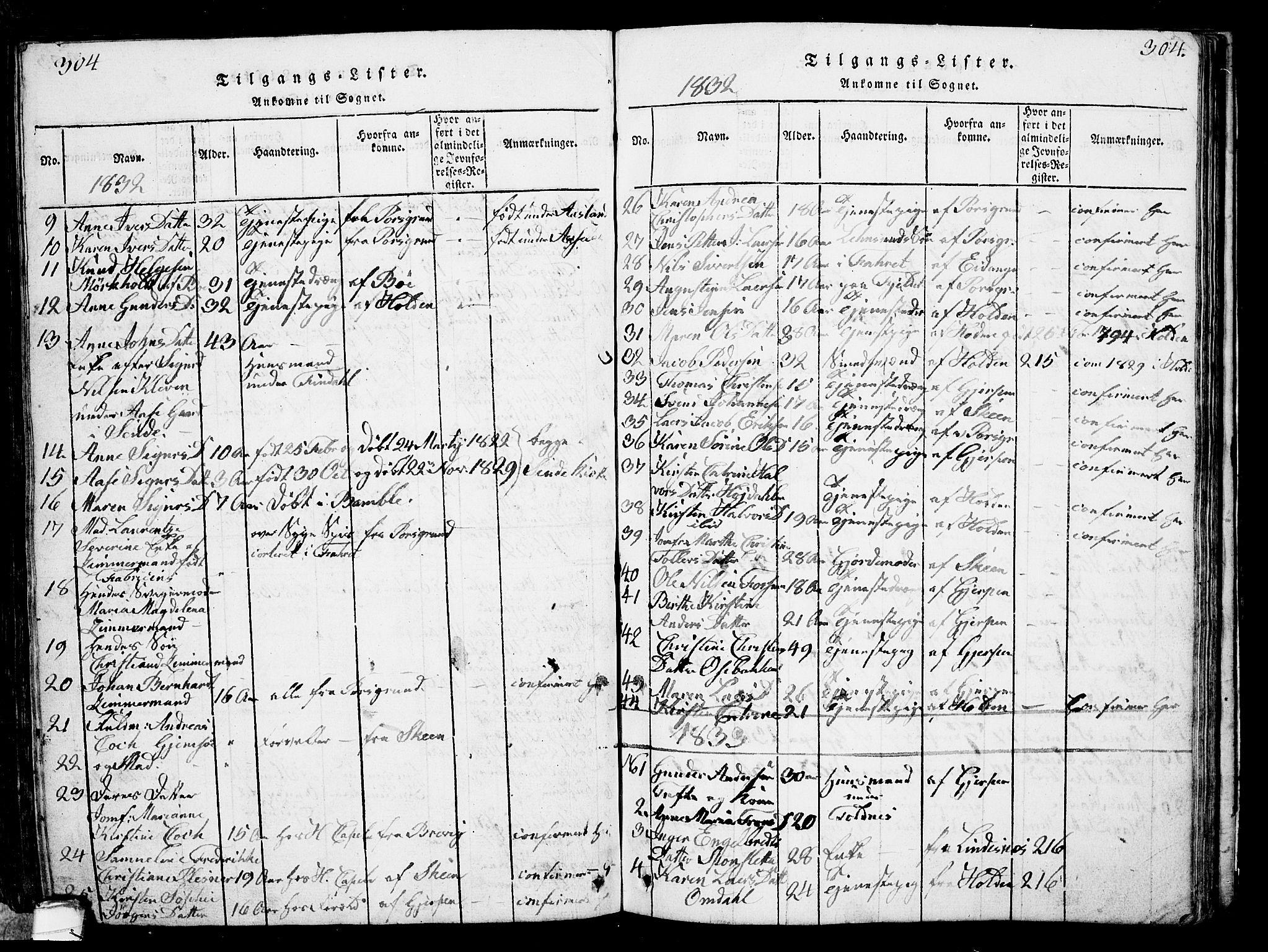 SAKO, Solum kirkebøker, G/Ga/L0001: Klokkerbok nr. I 1, 1814-1833, s. 304