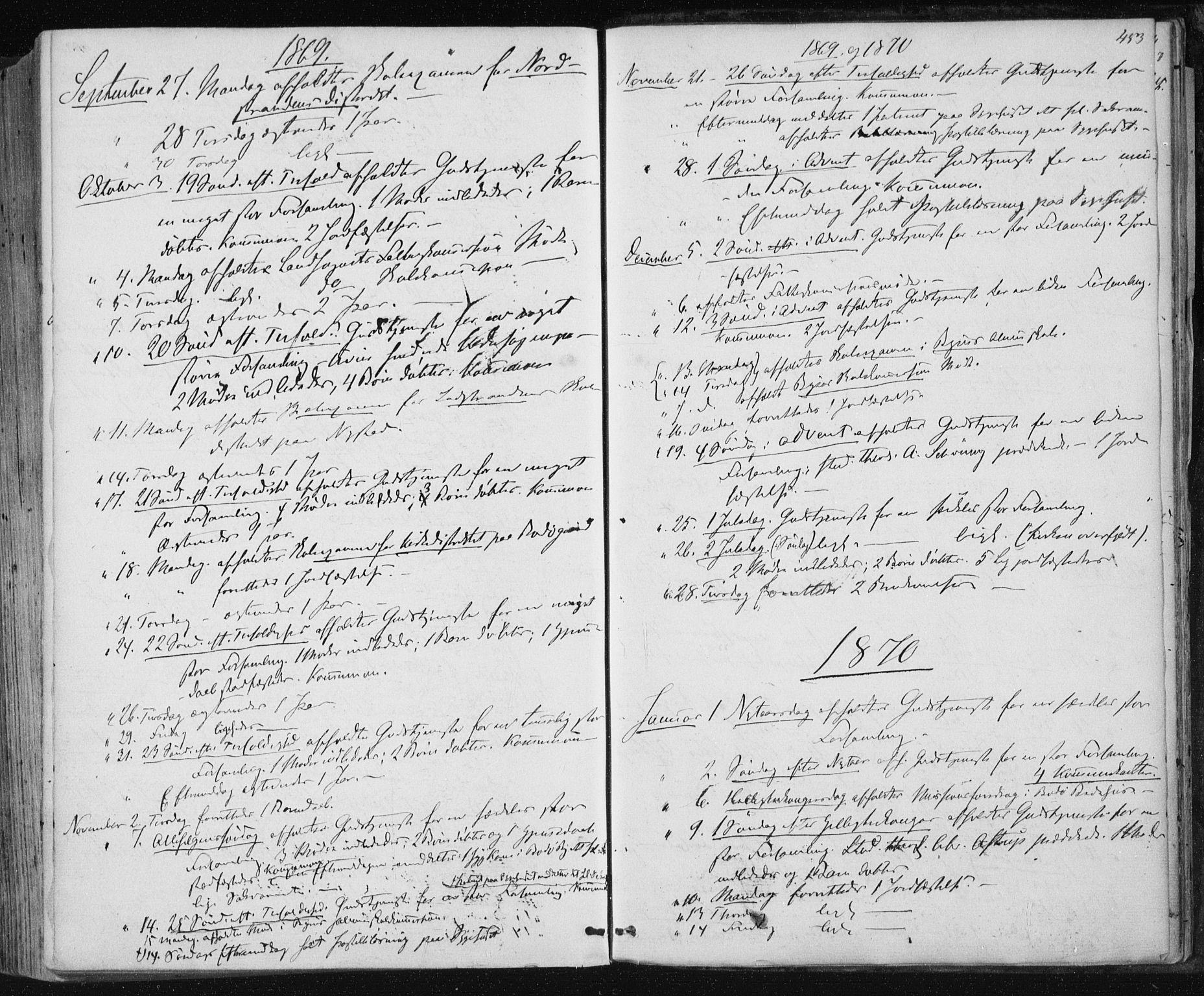 SAT, Ministerialprotokoller, klokkerbøker og fødselsregistre - Nordland, 801/L0008: Ministerialbok nr. 801A08, 1864-1875, s. 453
