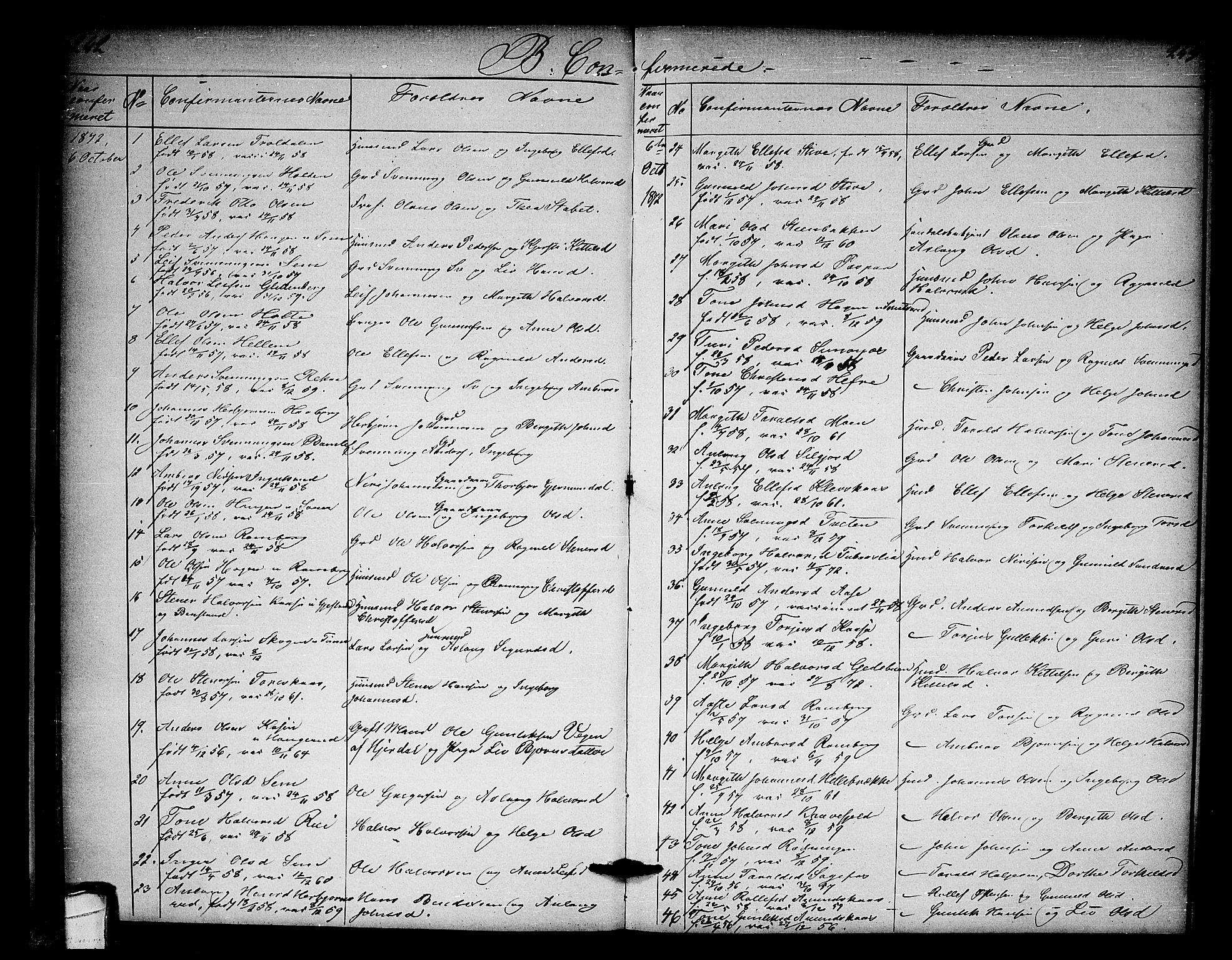 SAKO, Heddal kirkebøker, G/Ga/L0001: Klokkerbok nr. I 1, 1866-1878, s. 242-243