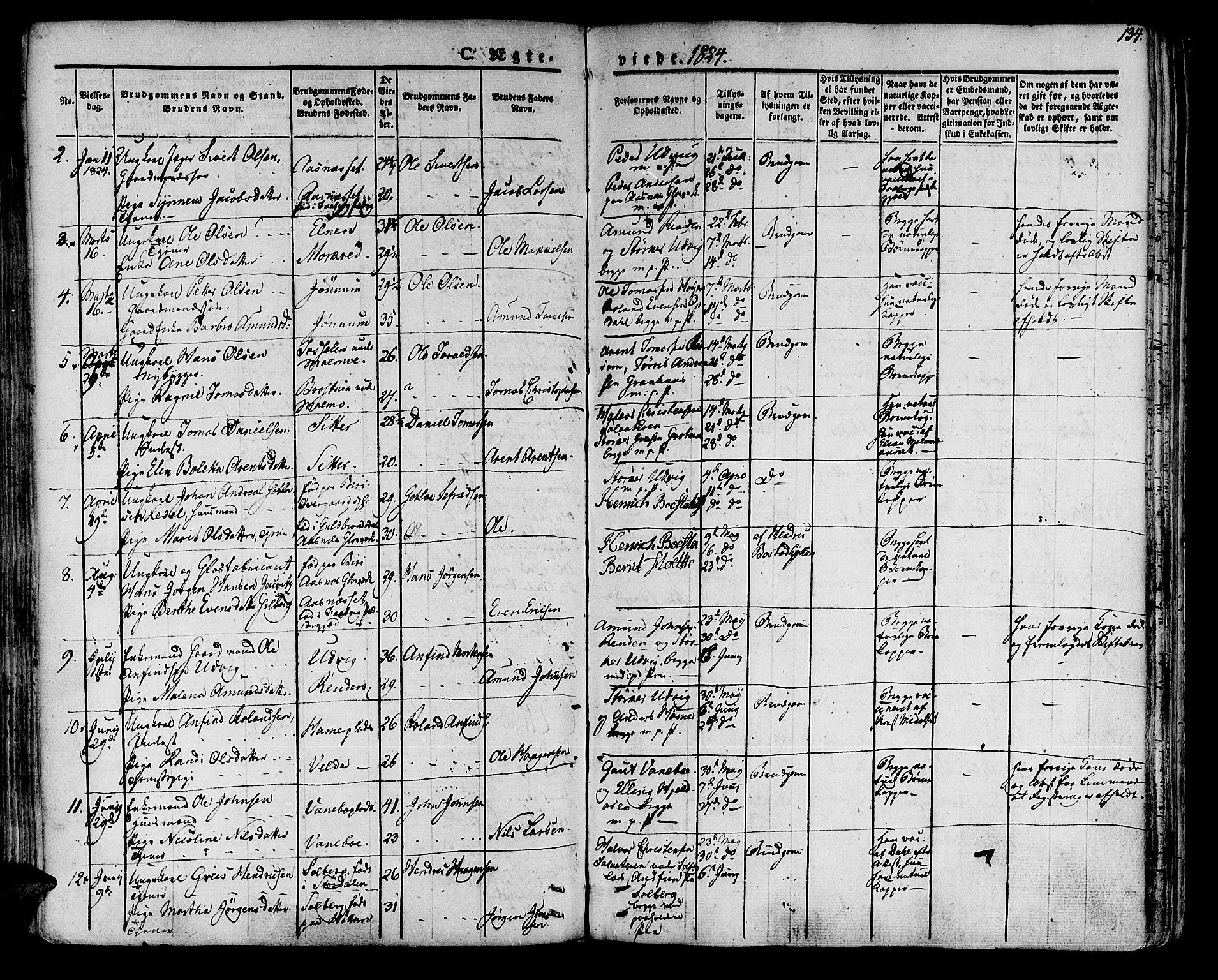 SAT, Ministerialprotokoller, klokkerbøker og fødselsregistre - Nord-Trøndelag, 741/L0390: Ministerialbok nr. 741A04, 1822-1836, s. 134