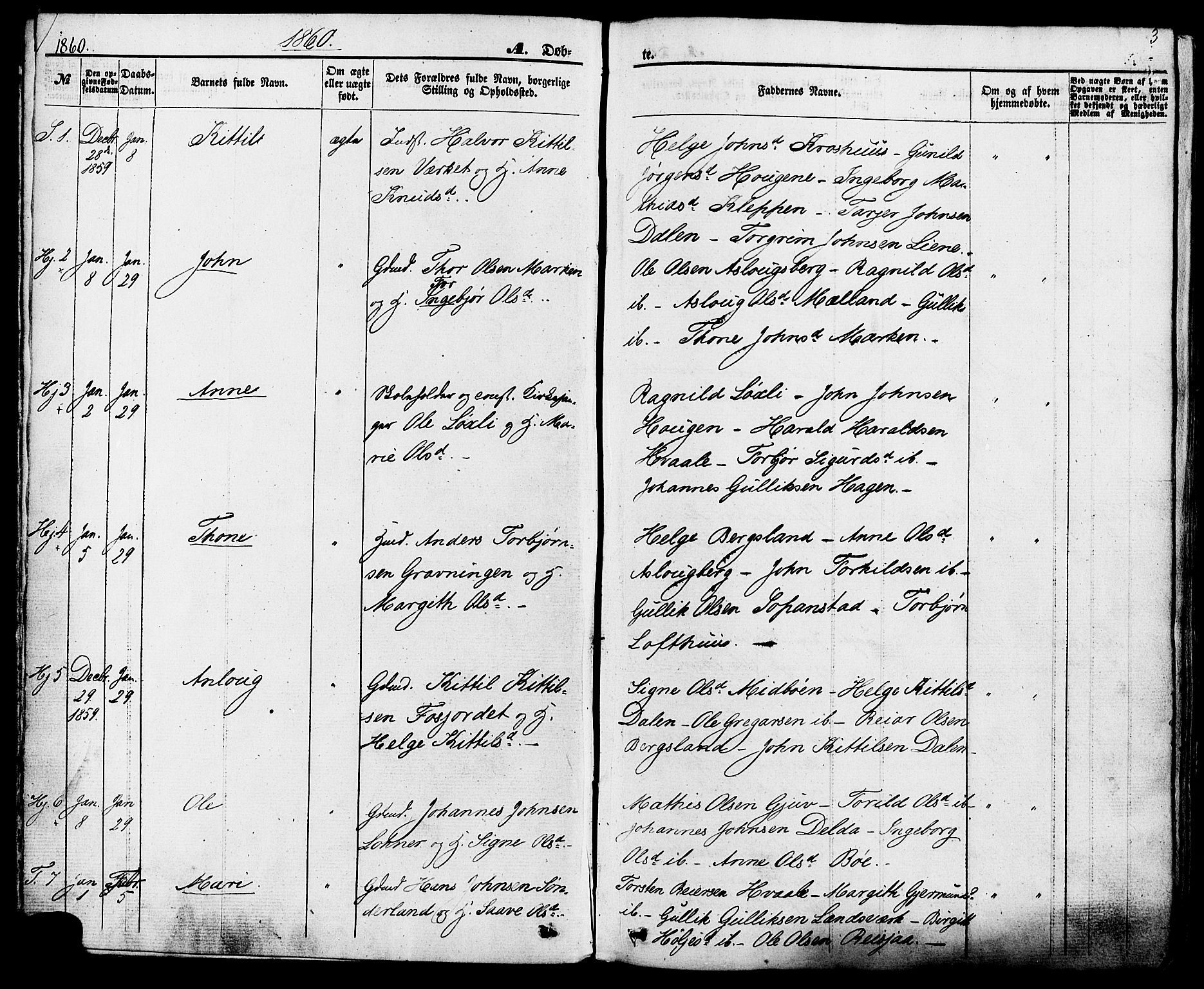 SAKO, Hjartdal kirkebøker, F/Fa/L0009: Ministerialbok nr. I 9, 1860-1879, s. 3