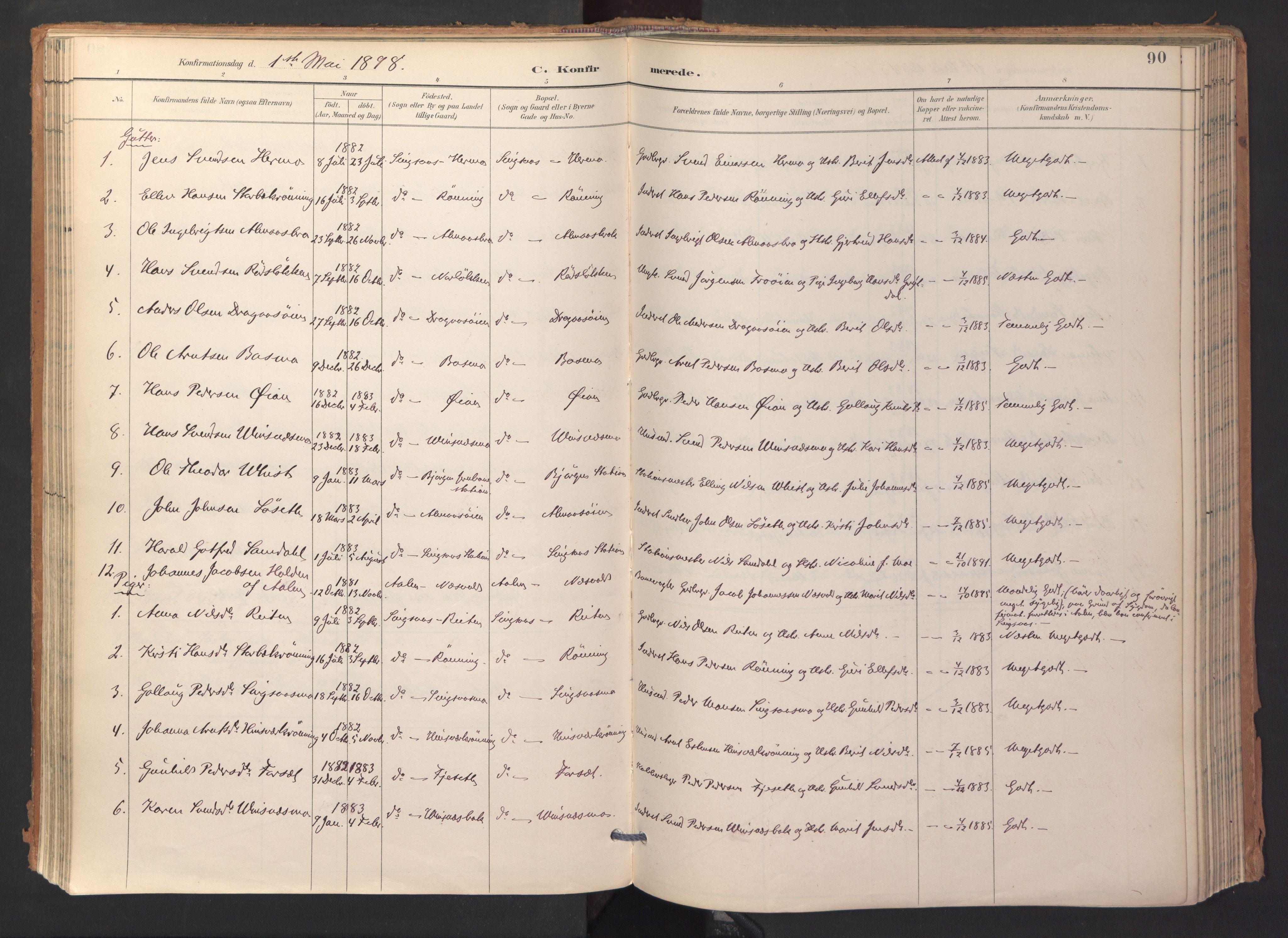 SAT, Ministerialprotokoller, klokkerbøker og fødselsregistre - Sør-Trøndelag, 688/L1025: Ministerialbok nr. 688A02, 1891-1909, s. 90