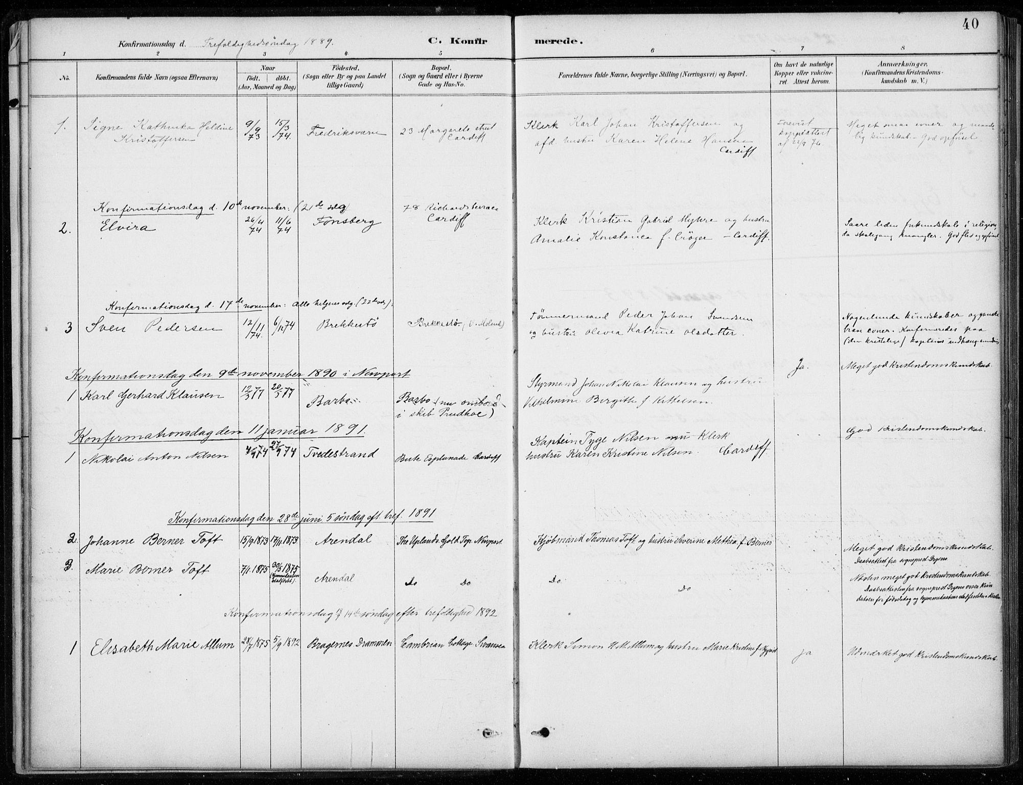 SAB, Den Norske Sjømannsmisjon i utlandet*, Ministerialbok nr. A 2, 1887-1932, s. 40