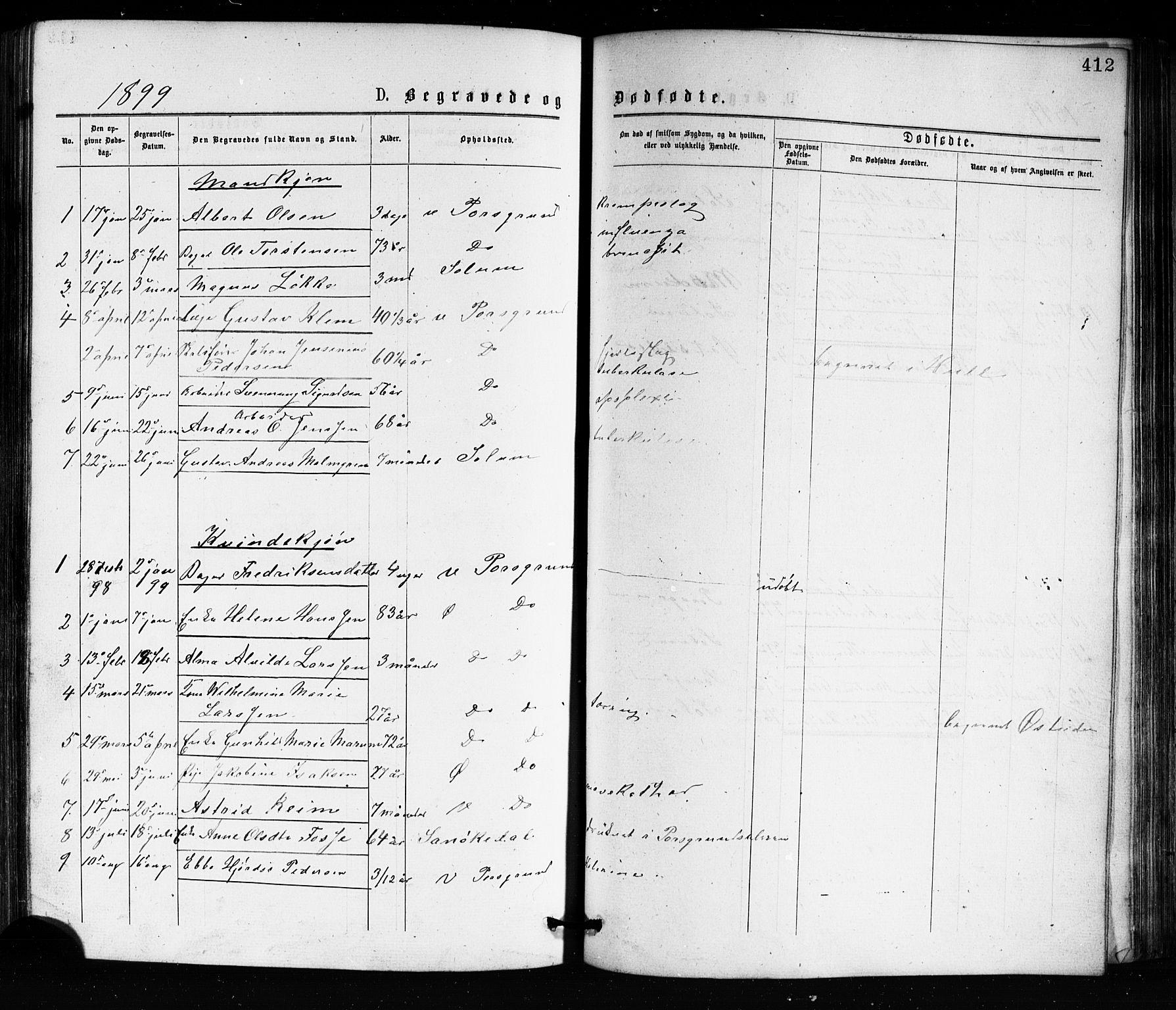 SAKO, Porsgrunn kirkebøker , G/Ga/L0003: Klokkerbok nr. I 3, 1877-1915, s. 412