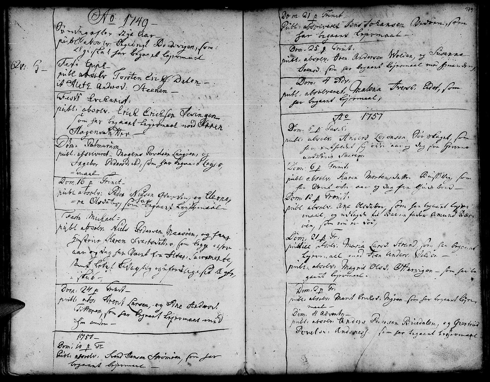 SAT, Ministerialprotokoller, klokkerbøker og fødselsregistre - Sør-Trøndelag, 634/L0525: Ministerialbok nr. 634A01, 1736-1775, s. 179