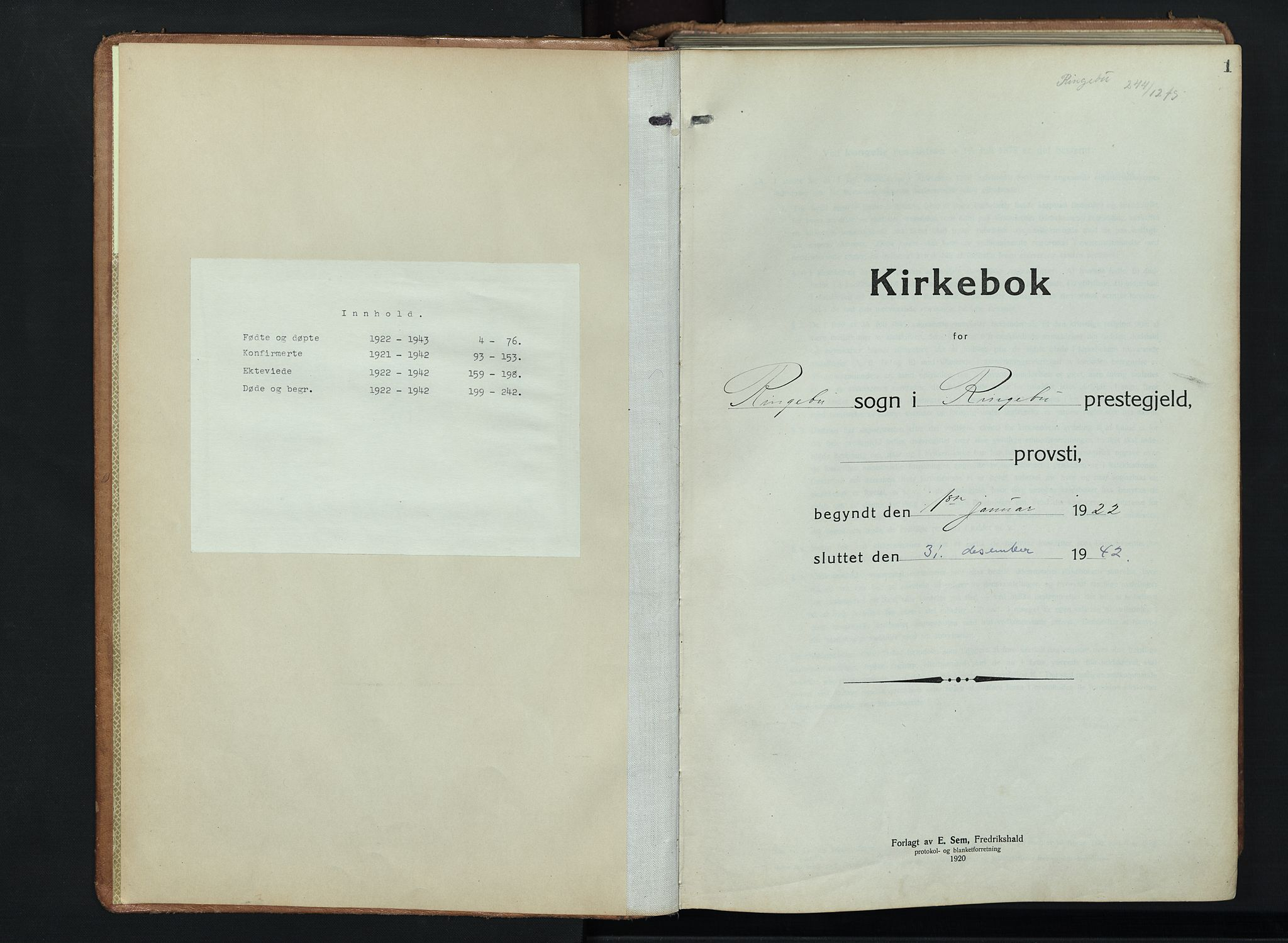 SAH, Ringebu prestekontor, Klokkerbok nr. 11, 1921-1943, s. 1
