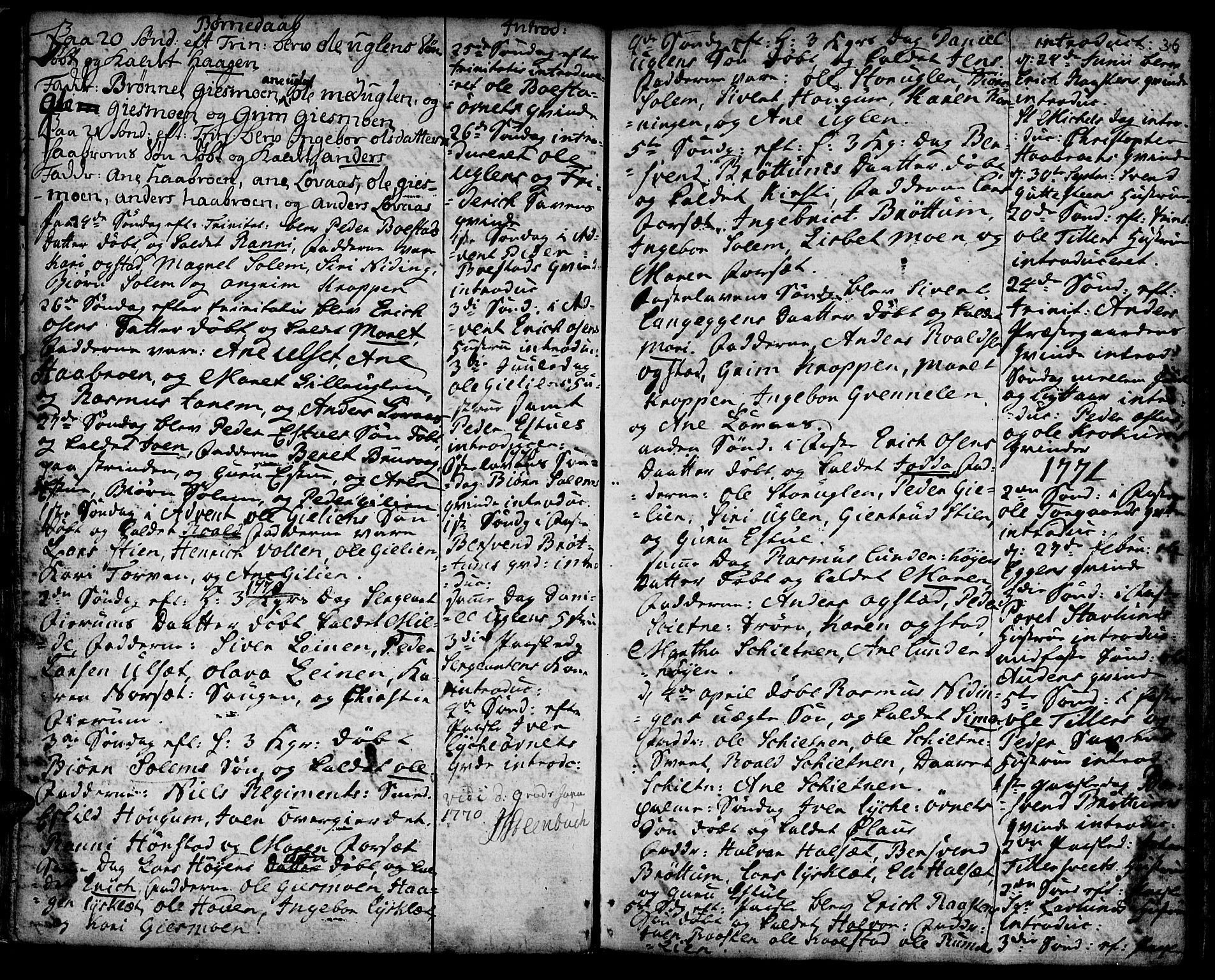 SAT, Ministerialprotokoller, klokkerbøker og fødselsregistre - Sør-Trøndelag, 618/L0437: Ministerialbok nr. 618A02, 1749-1782, s. 36