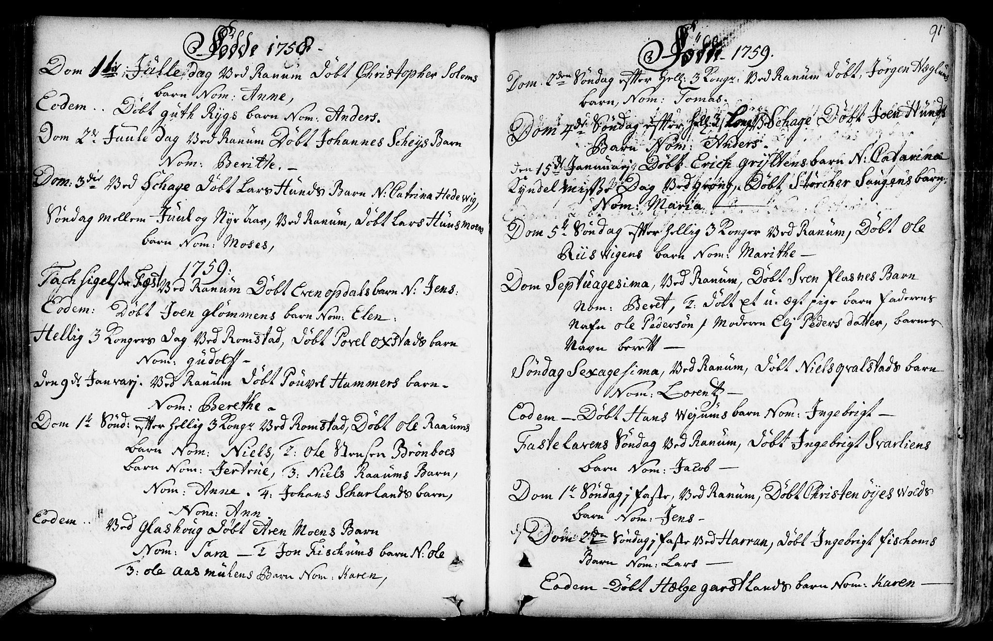 SAT, Ministerialprotokoller, klokkerbøker og fødselsregistre - Nord-Trøndelag, 764/L0542: Ministerialbok nr. 764A02, 1748-1779, s. 91