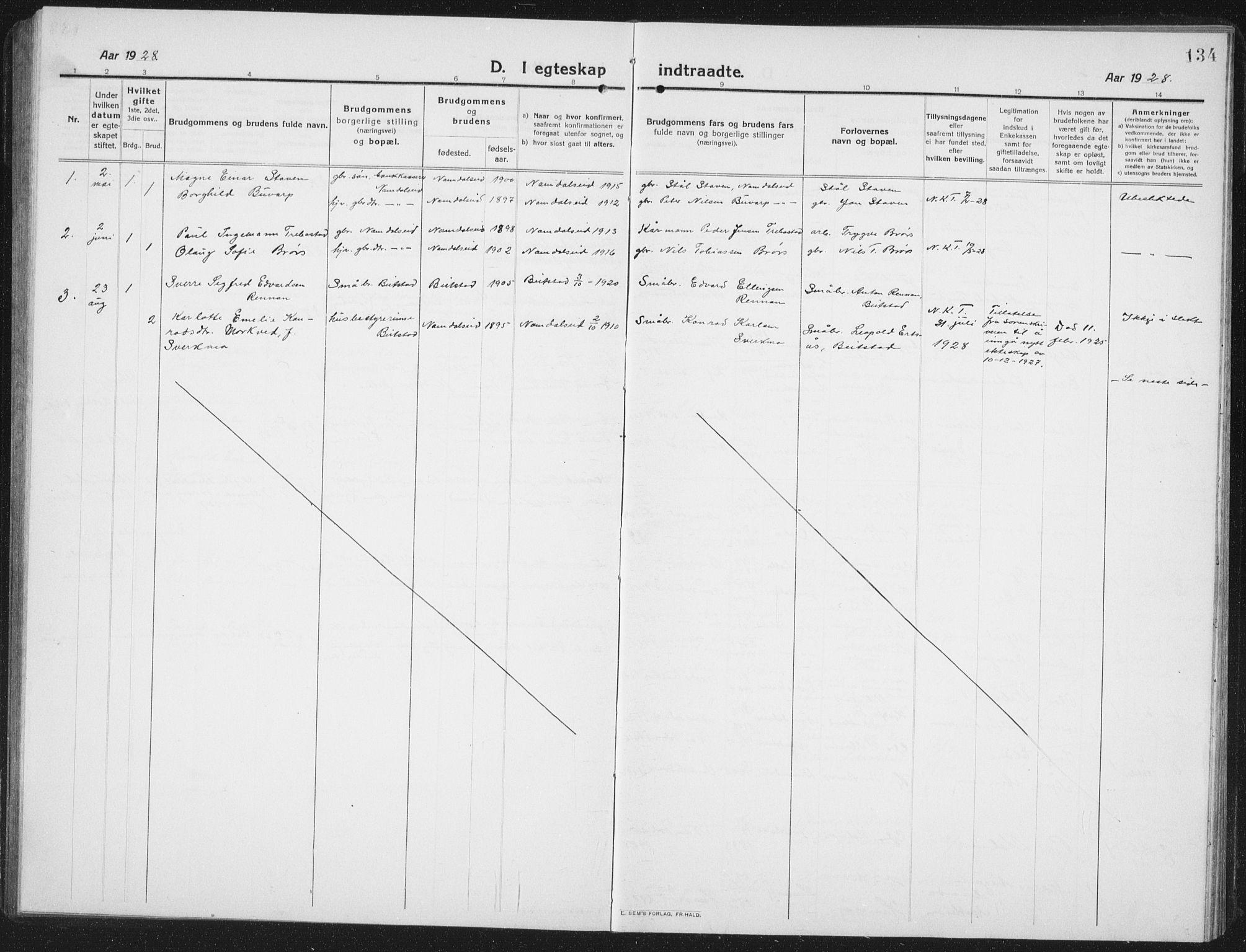 SAT, Ministerialprotokoller, klokkerbøker og fødselsregistre - Nord-Trøndelag, 742/L0413: Klokkerbok nr. 742C04, 1911-1938, s. 134