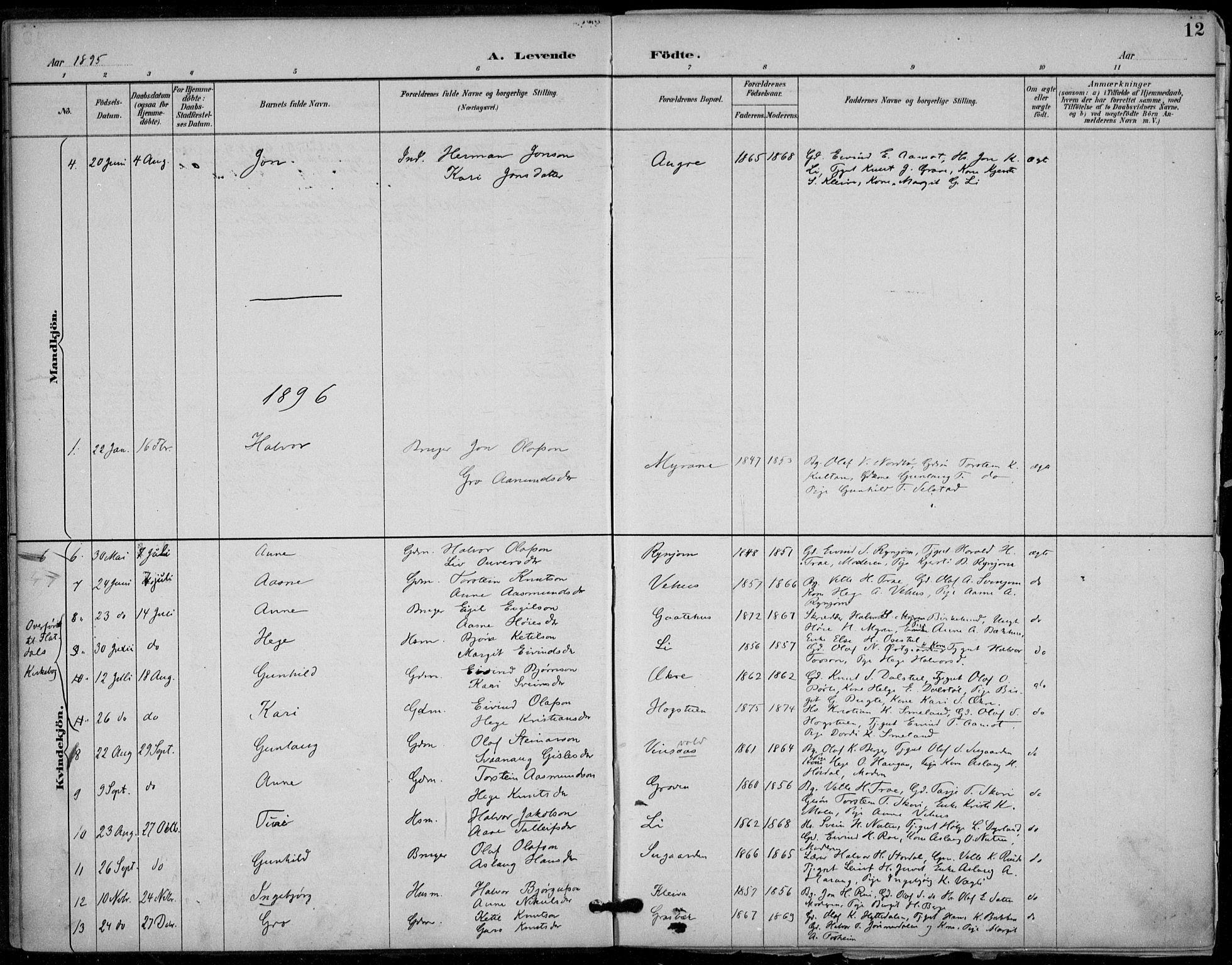 SAKO, Seljord kirkebøker, F/Fc/L0002: Ministerialbok nr. III 2, 1887-1920, s. 12