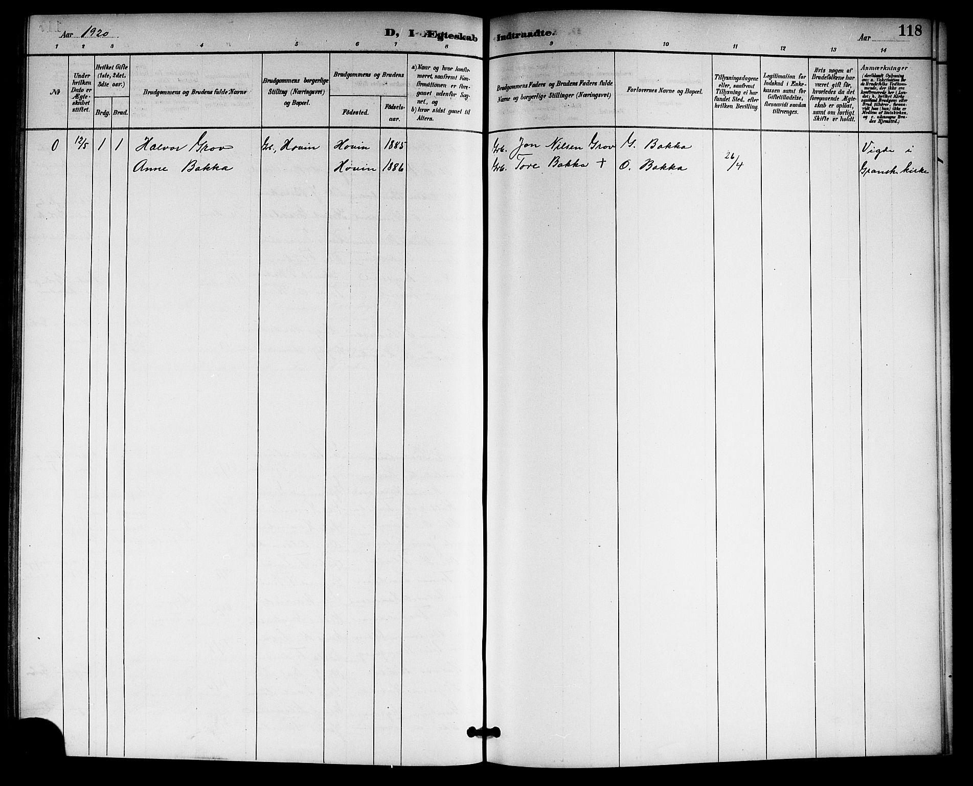 SAKO, Gransherad kirkebøker, G/Gb/L0003: Klokkerbok nr. II 3, 1887-1921, s. 118