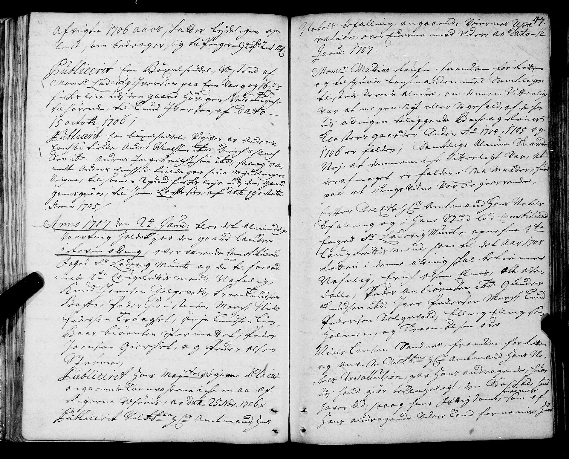 SAT, Romsdal sorenskriveri, 1/1A/L0005: Tingbok, 1706-1711, s. 46b-47a
