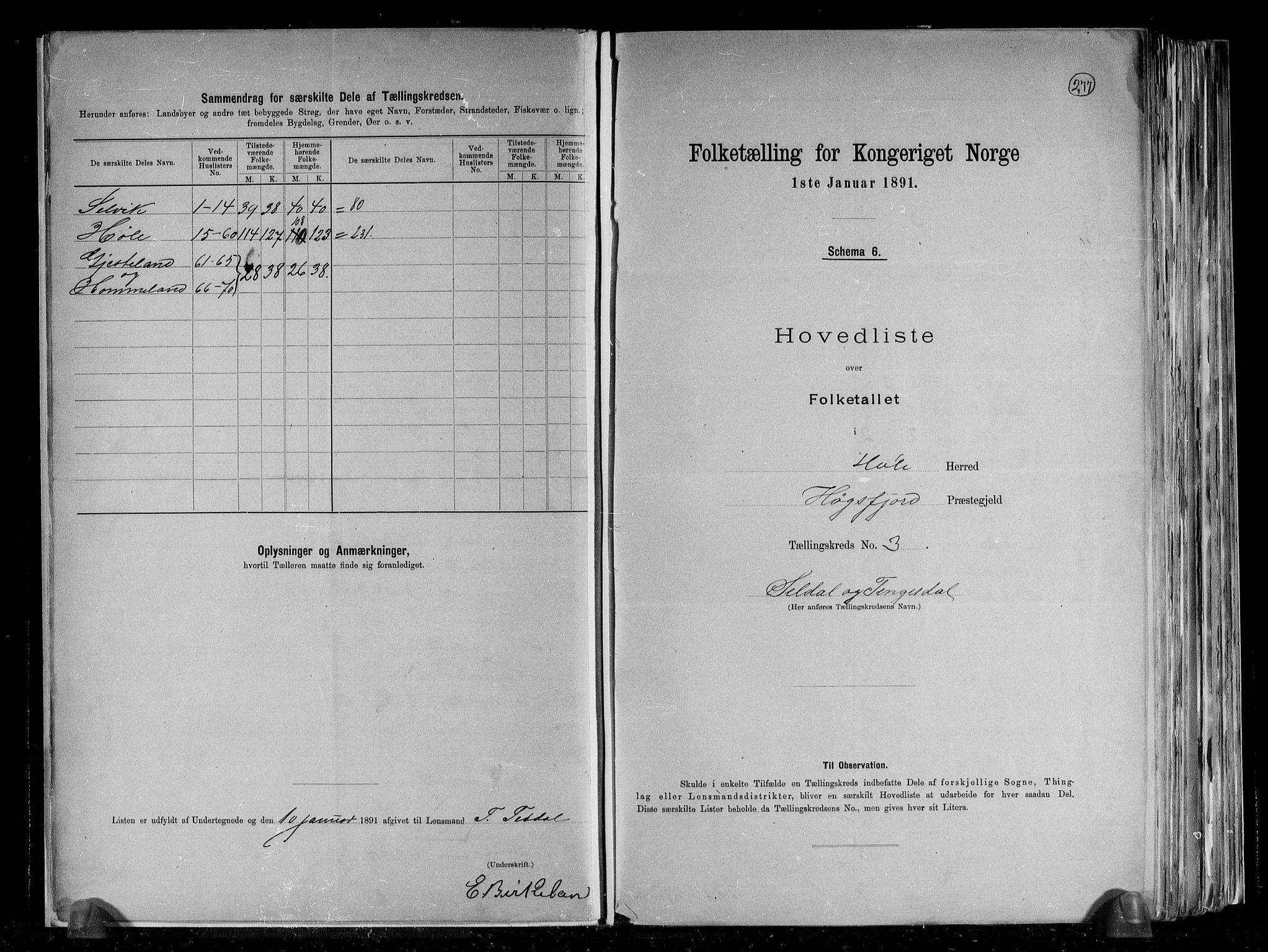 RA, Folketelling 1891 for 1128 Høle herred, 1891, s. 9