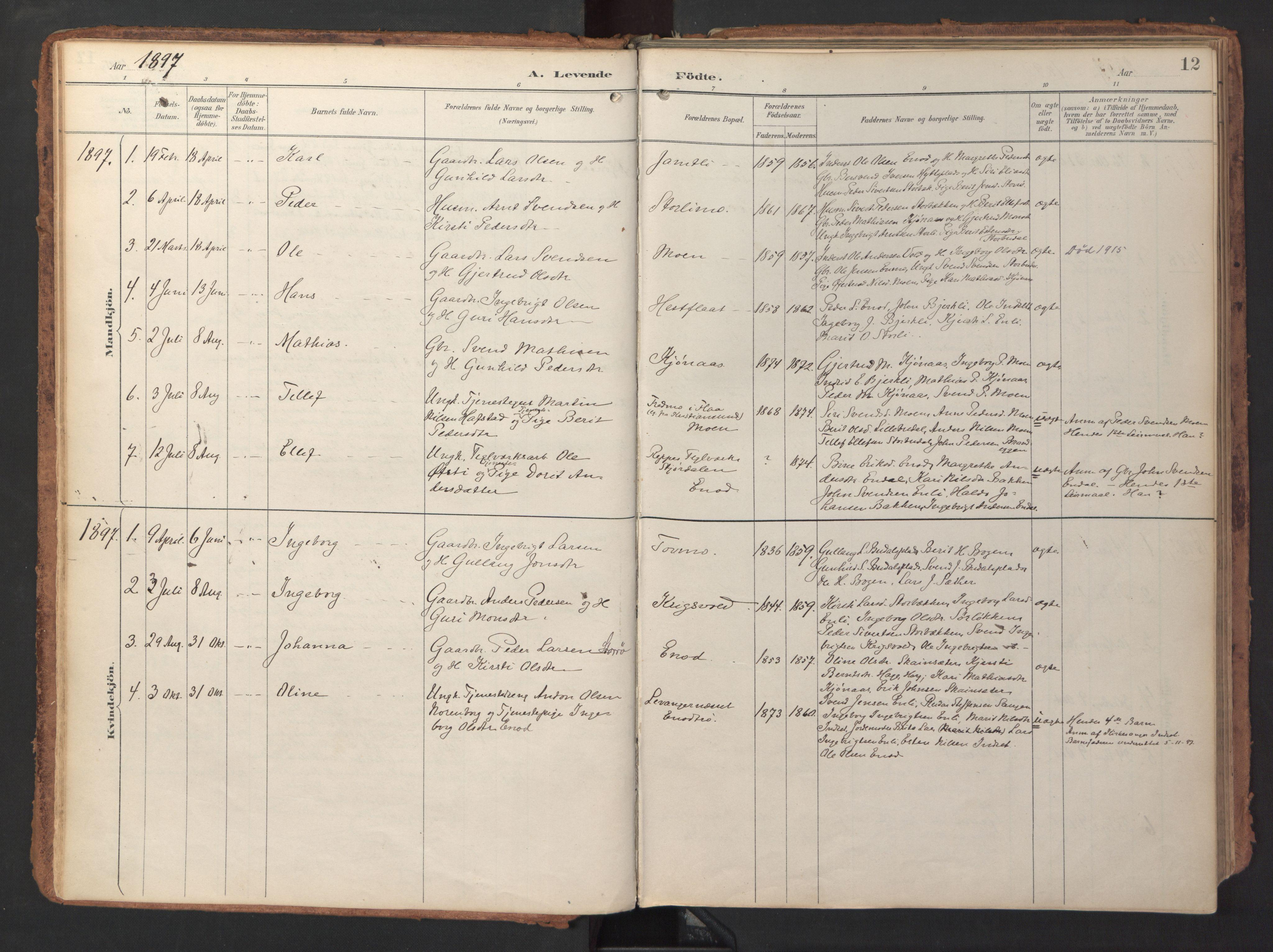 SAT, Ministerialprotokoller, klokkerbøker og fødselsregistre - Sør-Trøndelag, 690/L1050: Ministerialbok nr. 690A01, 1889-1929, s. 12
