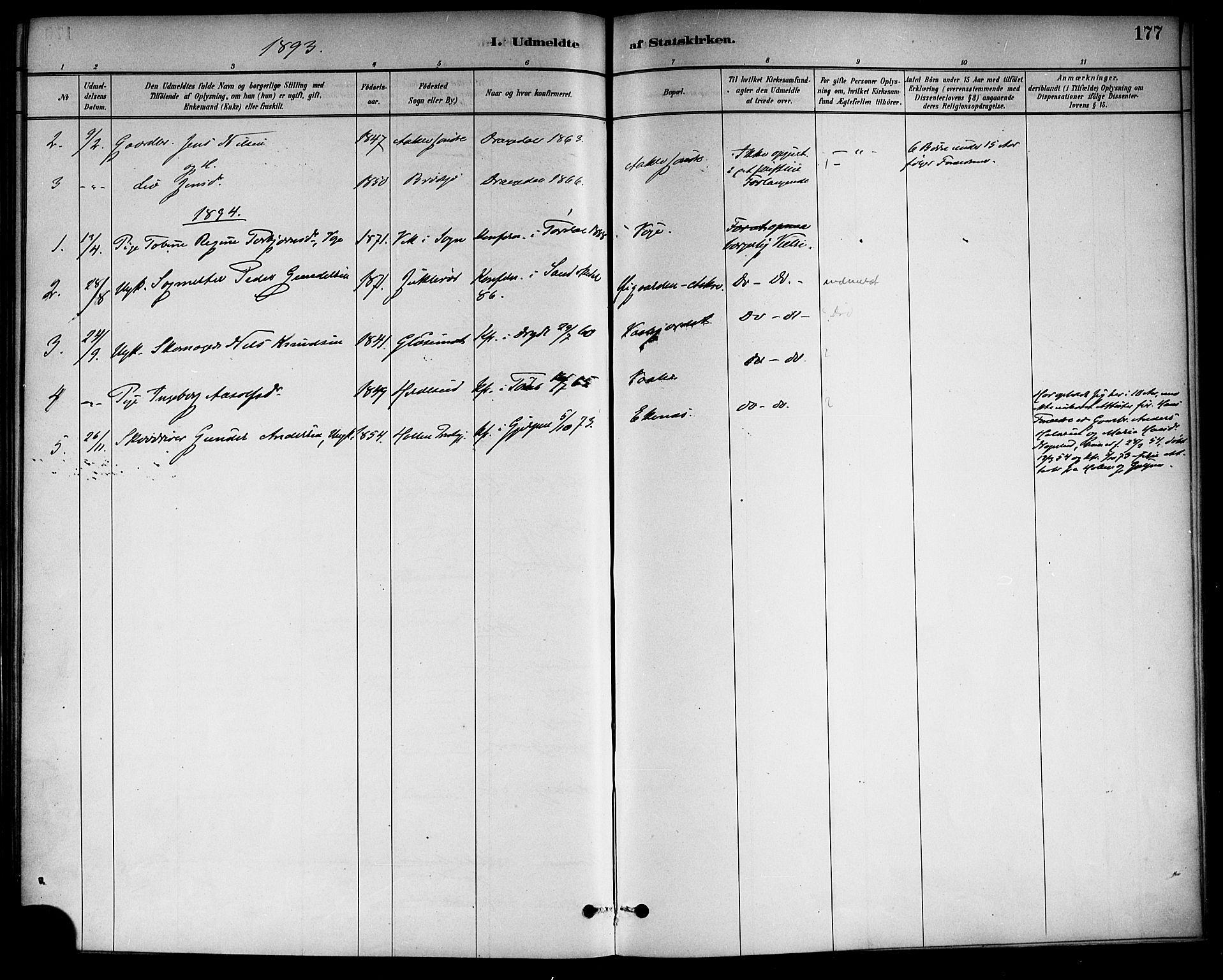 SAKO, Drangedal kirkebøker, F/Fa/L0011: Ministerialbok nr. 11 /1, 1885-1894, s. 177