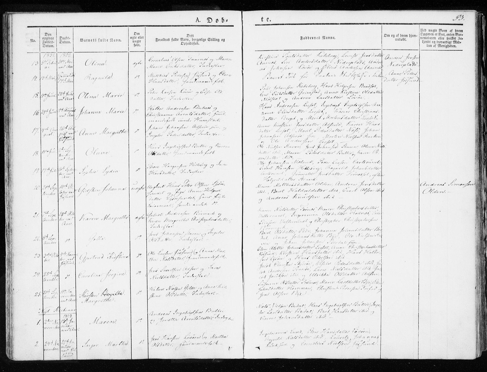 SAT, Ministerialprotokoller, klokkerbøker og fødselsregistre - Sør-Trøndelag, 655/L0676: Ministerialbok nr. 655A05, 1830-1847, s. 53