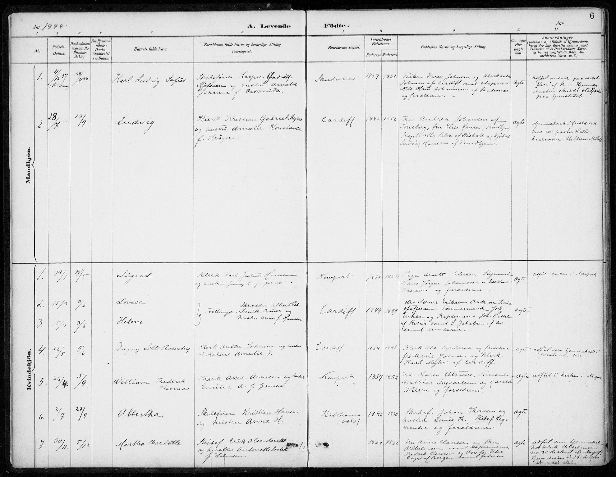 SAB, Den Norske Sjømannsmisjon i utlandet*, Ministerialbok nr. A 2, 1887-1932, s. 6