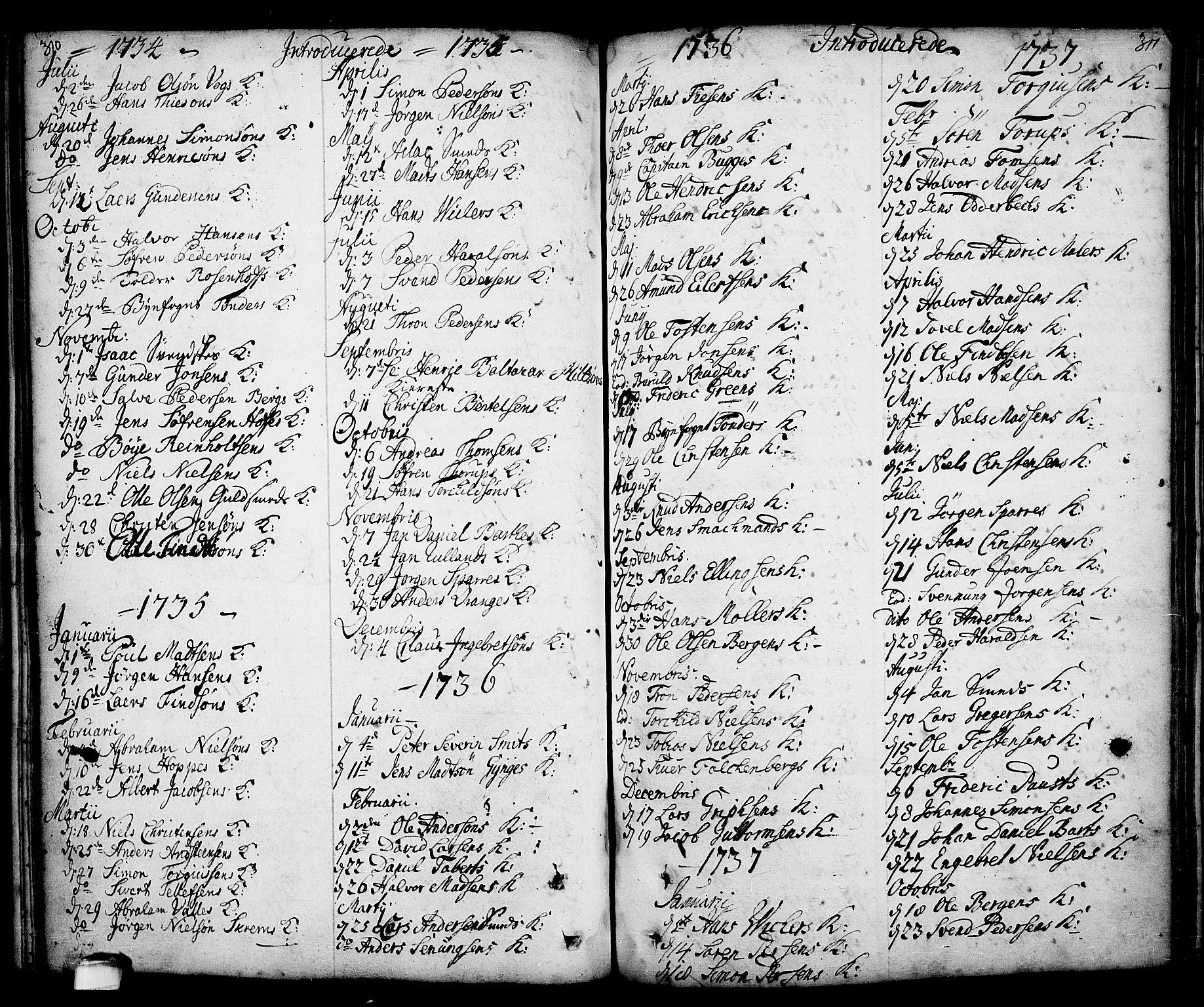 SAKO, Kragerø kirkebøker, F/Fa/L0001: Ministerialbok nr. 1, 1702-1766, s. 310-311