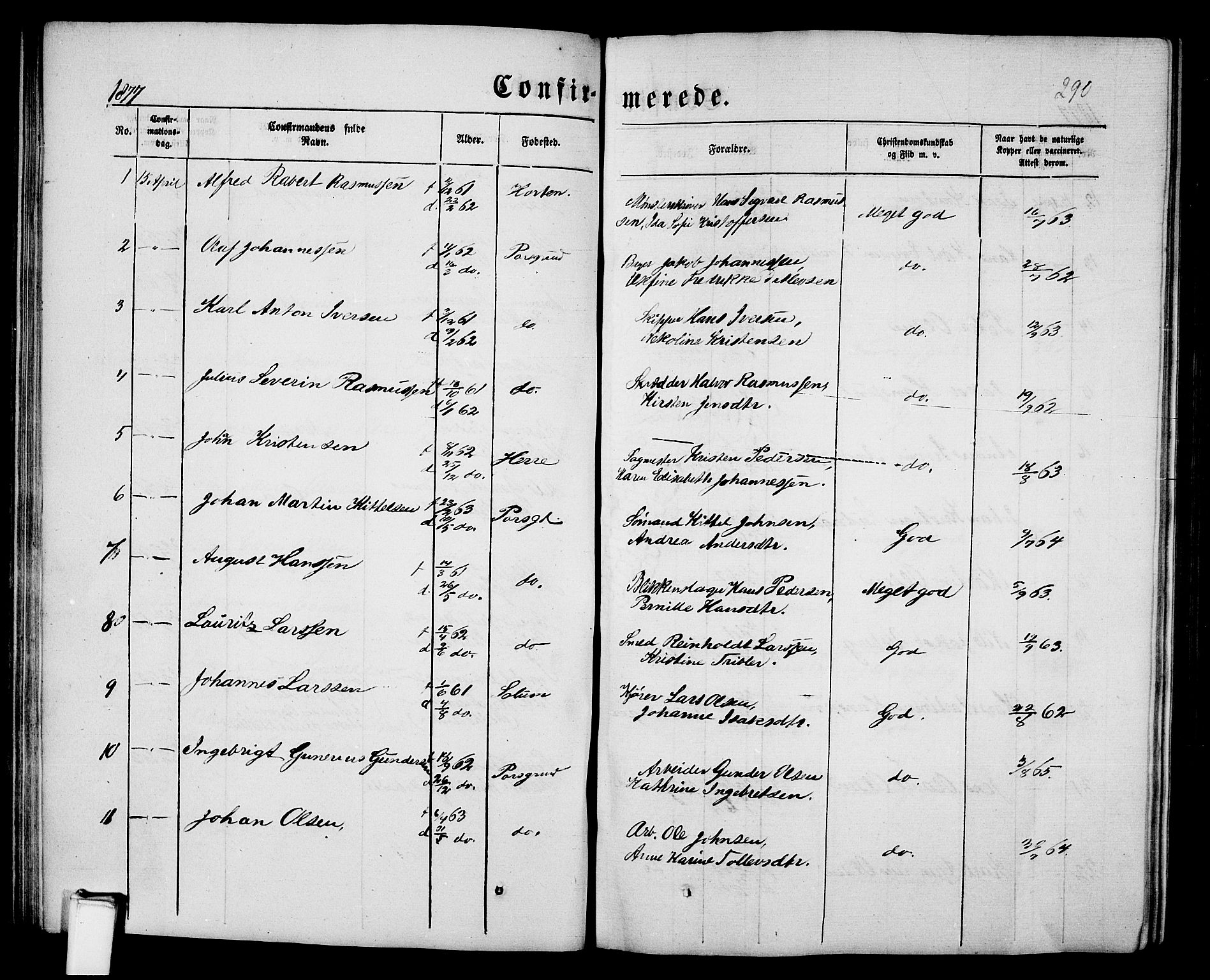 SAKO, Porsgrunn kirkebøker , G/Gb/L0004: Klokkerbok nr. II 4, 1853-1882, s. 290