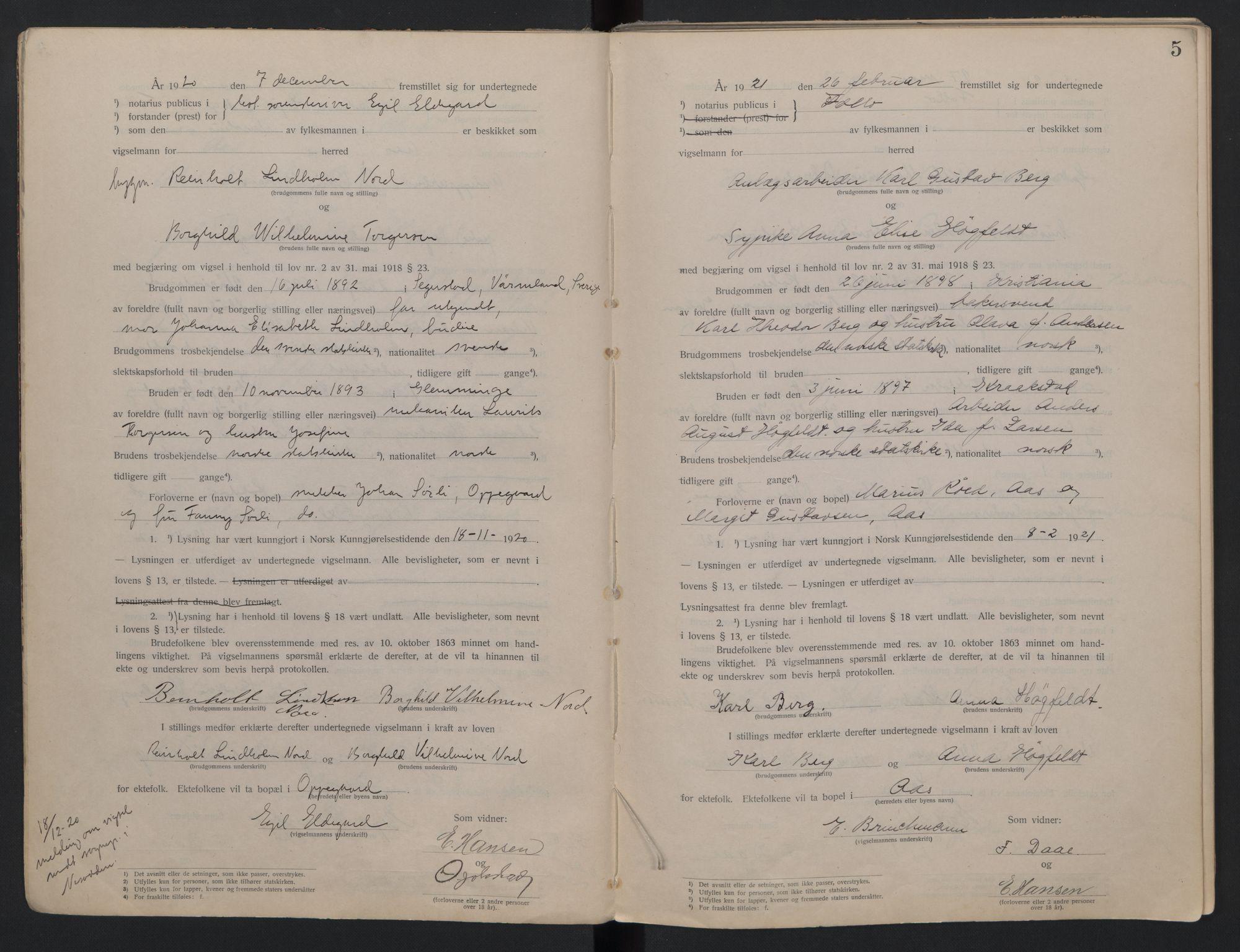 SAO, Follo sorenskriveri, L/La/Lab/L0001: Vigselsbok, 1920-1942, s. 5